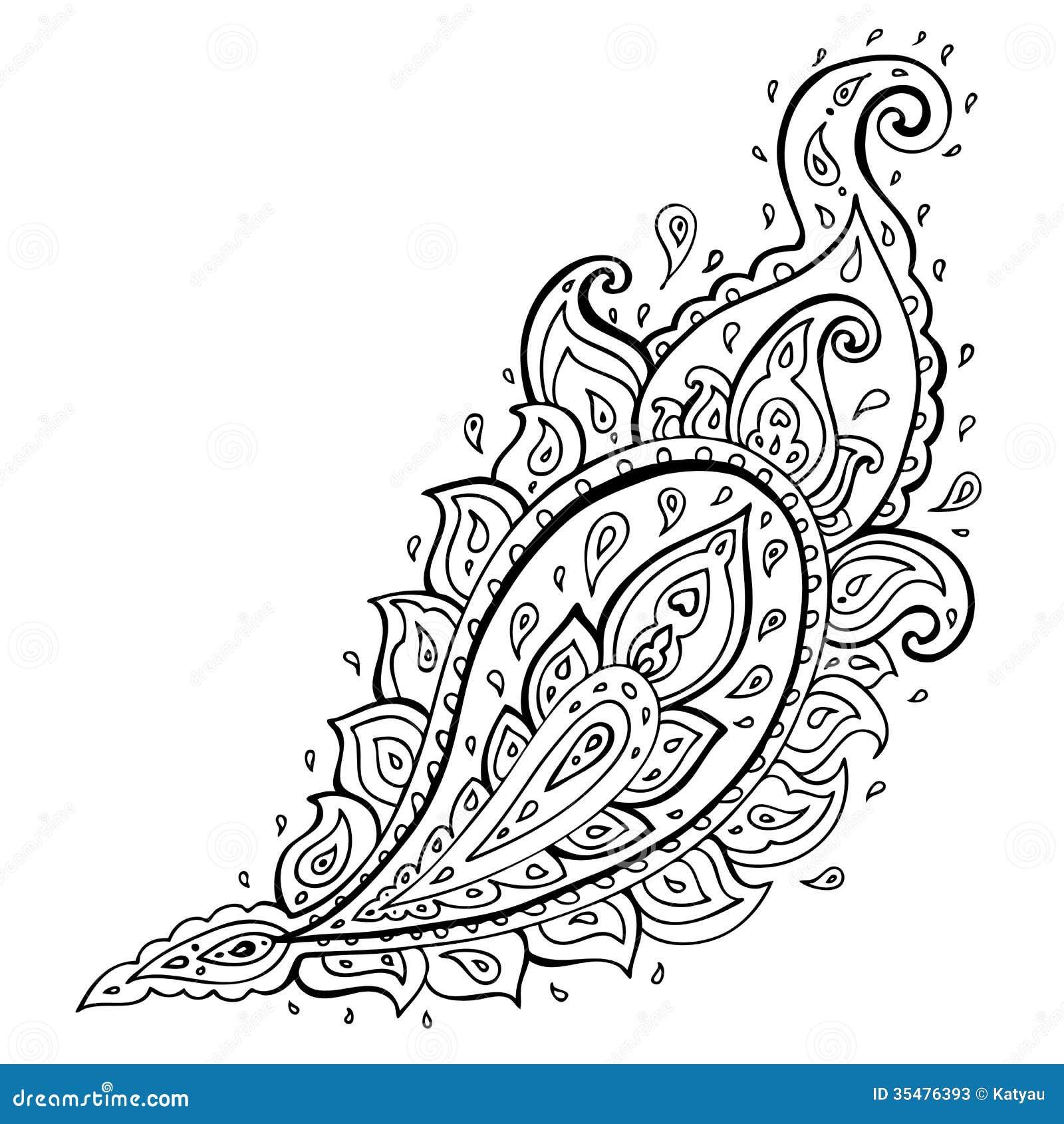 طرح ترمه برای نقاشی Paisley. Ethnic ornament. stock illustration. Illustration ...