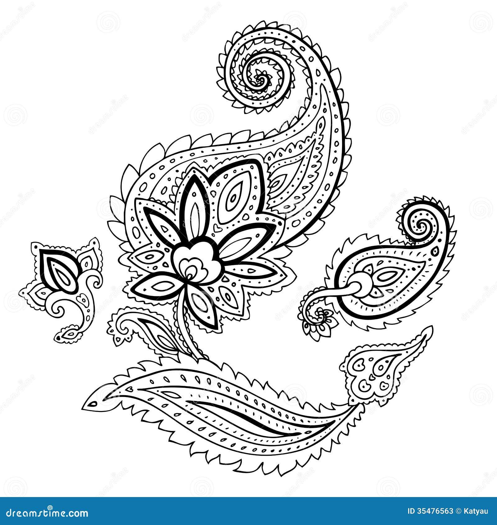 طرح ترمه برای نقاشی Paisley. Ethnic ornament. stock illustration. Image of ...