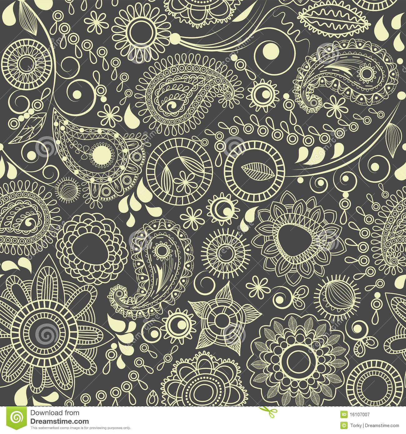 Paisley Floral Seamless Background Stock Vector ...