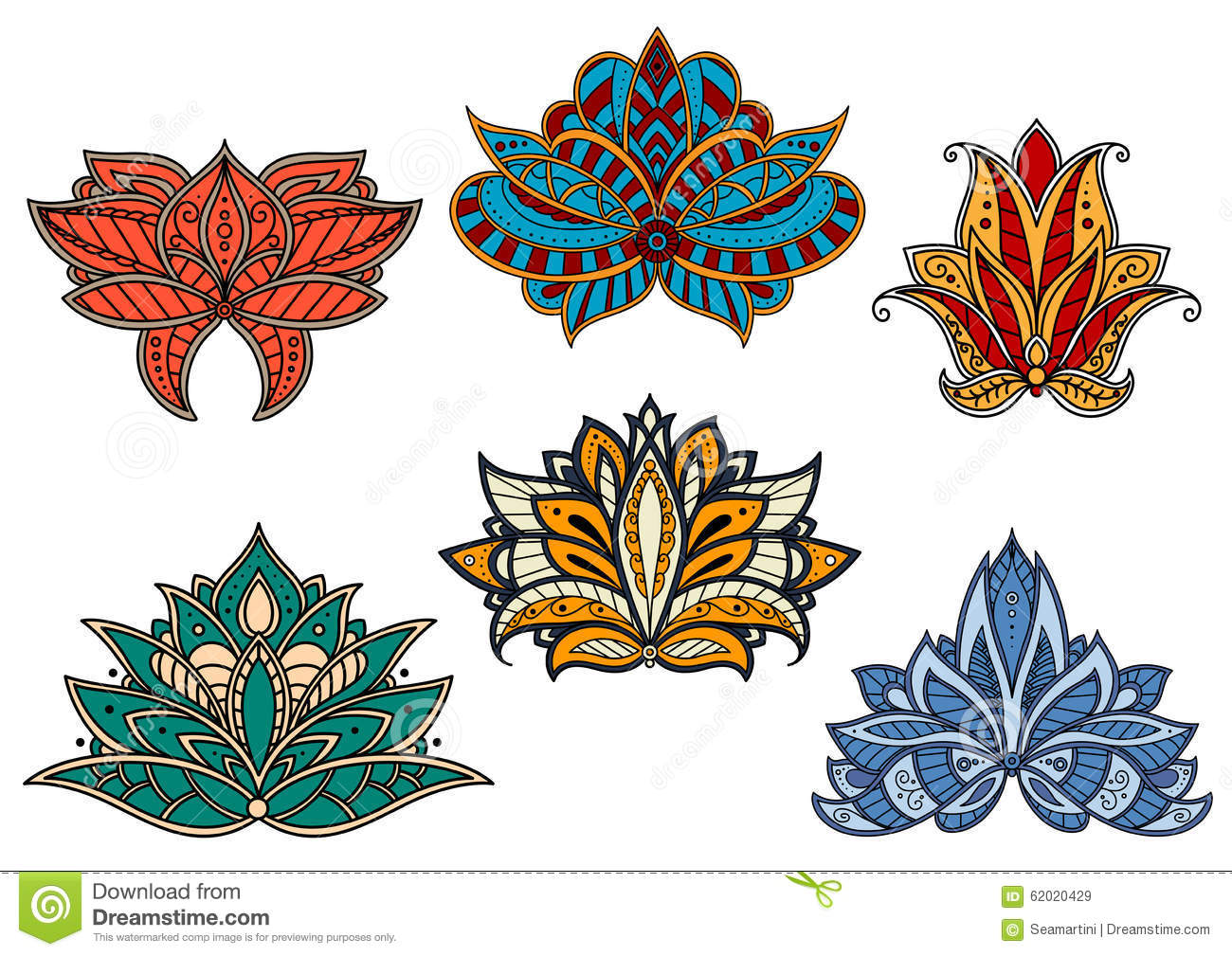 Paisley Flowers Decorated By Persian Patterns Stock Vector