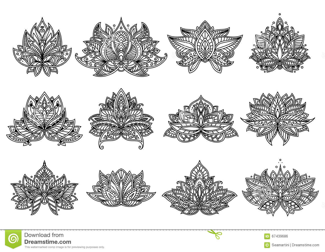 Paisley Flowers And Mandala Set Stock Vector