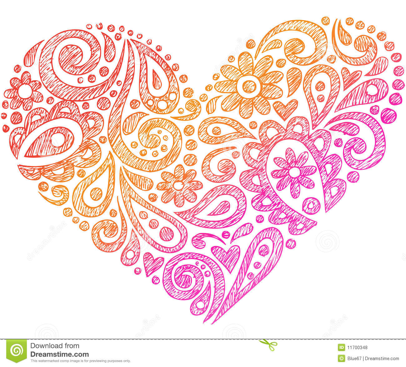 Paisley Henna Sketchy Notebook Doodle Heart Stock Vector