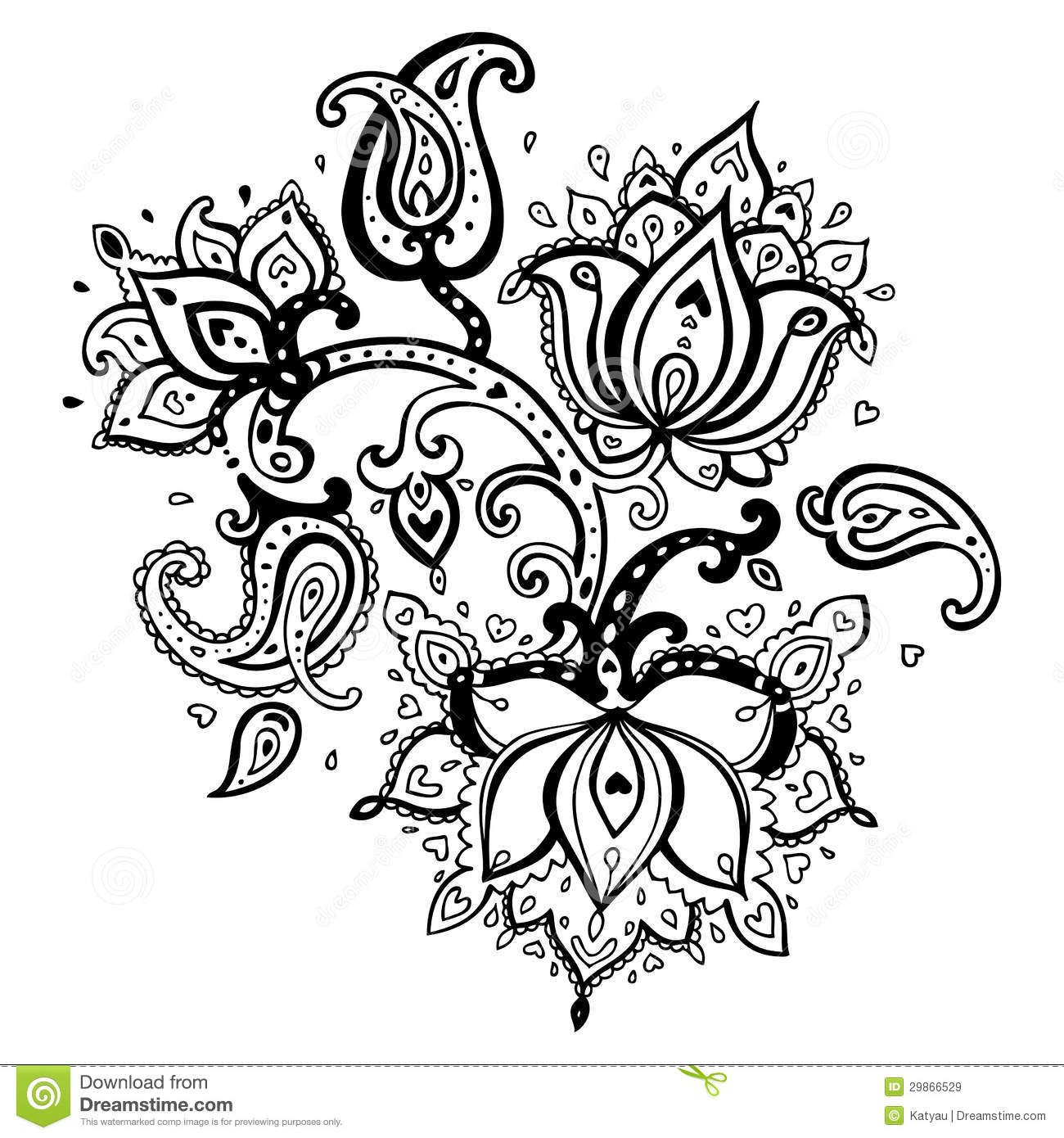 Line Drawing Flower Vector : Hand drawn paisley ornament stock illustration