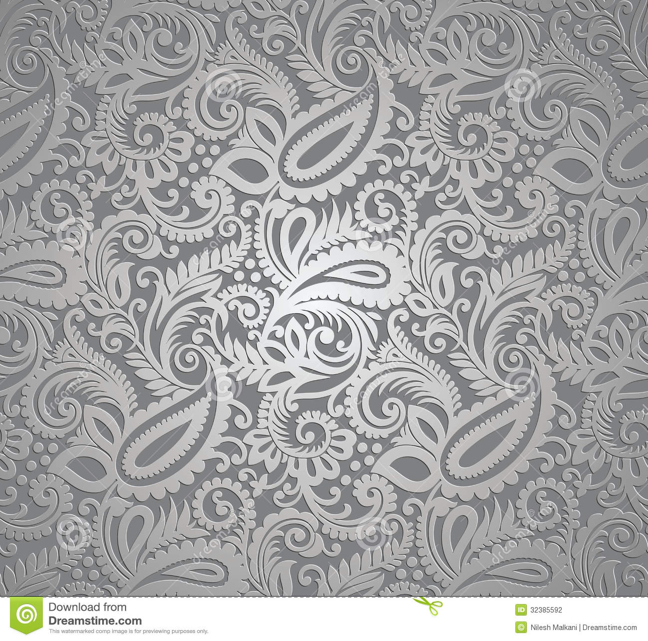 Texture background of seamless damask blue wallpaper stock photo - Paisley Silver Wallpaper Stock Photography Image 32385592