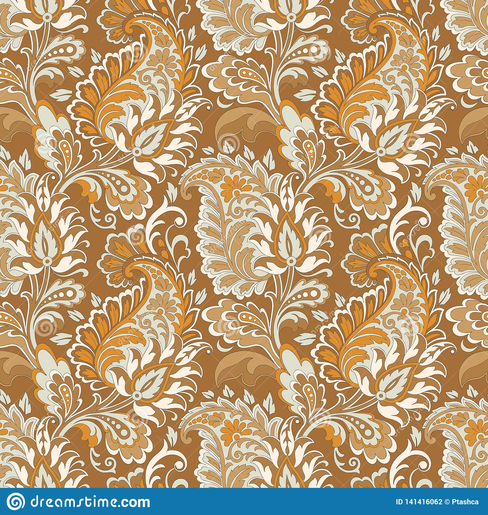 Paisley Vector Seamless Pattern Fantastic Flower Leaves Textile