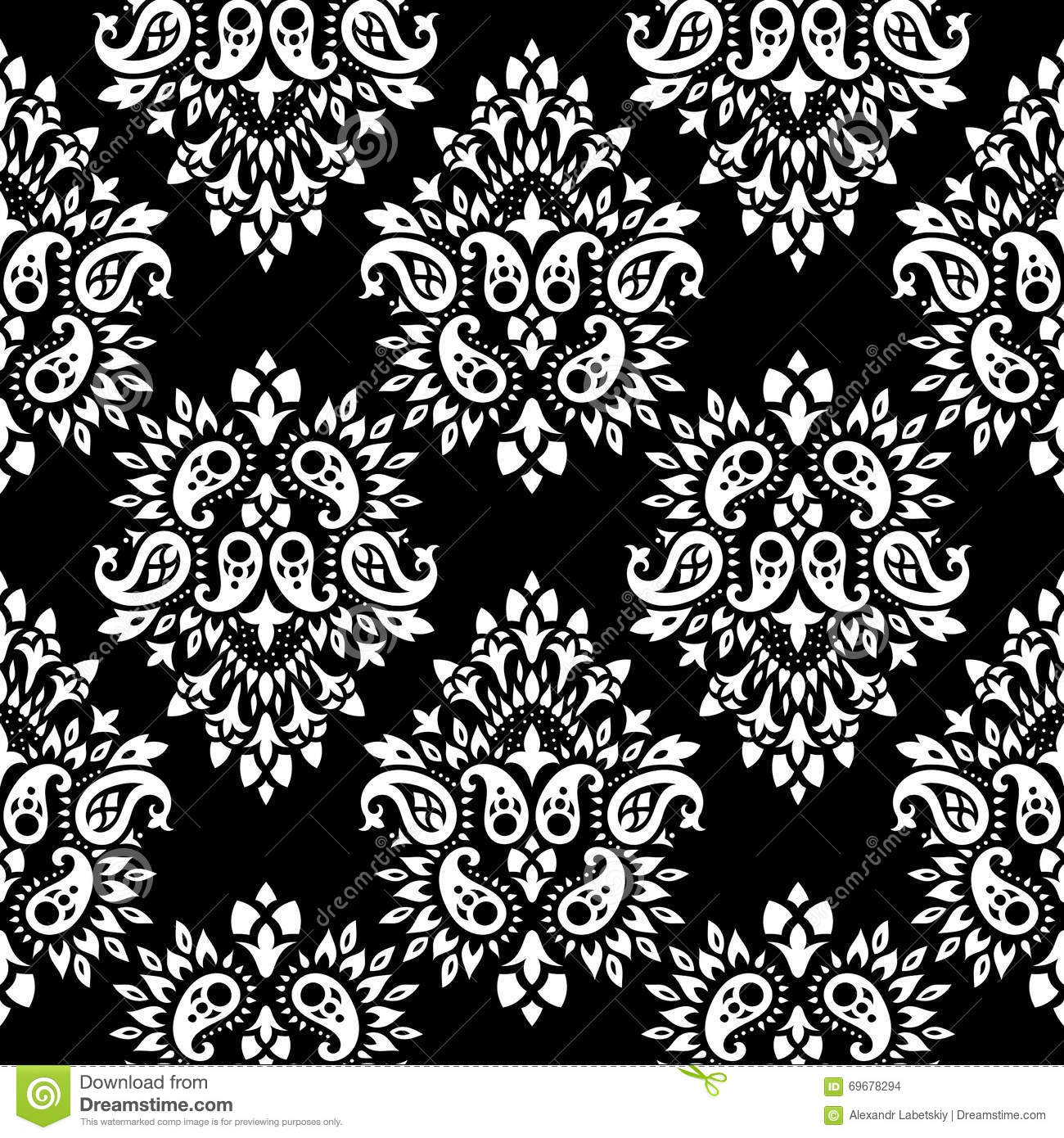 Paisley vector seamless stock vector image 69678294 for Baroque design elements