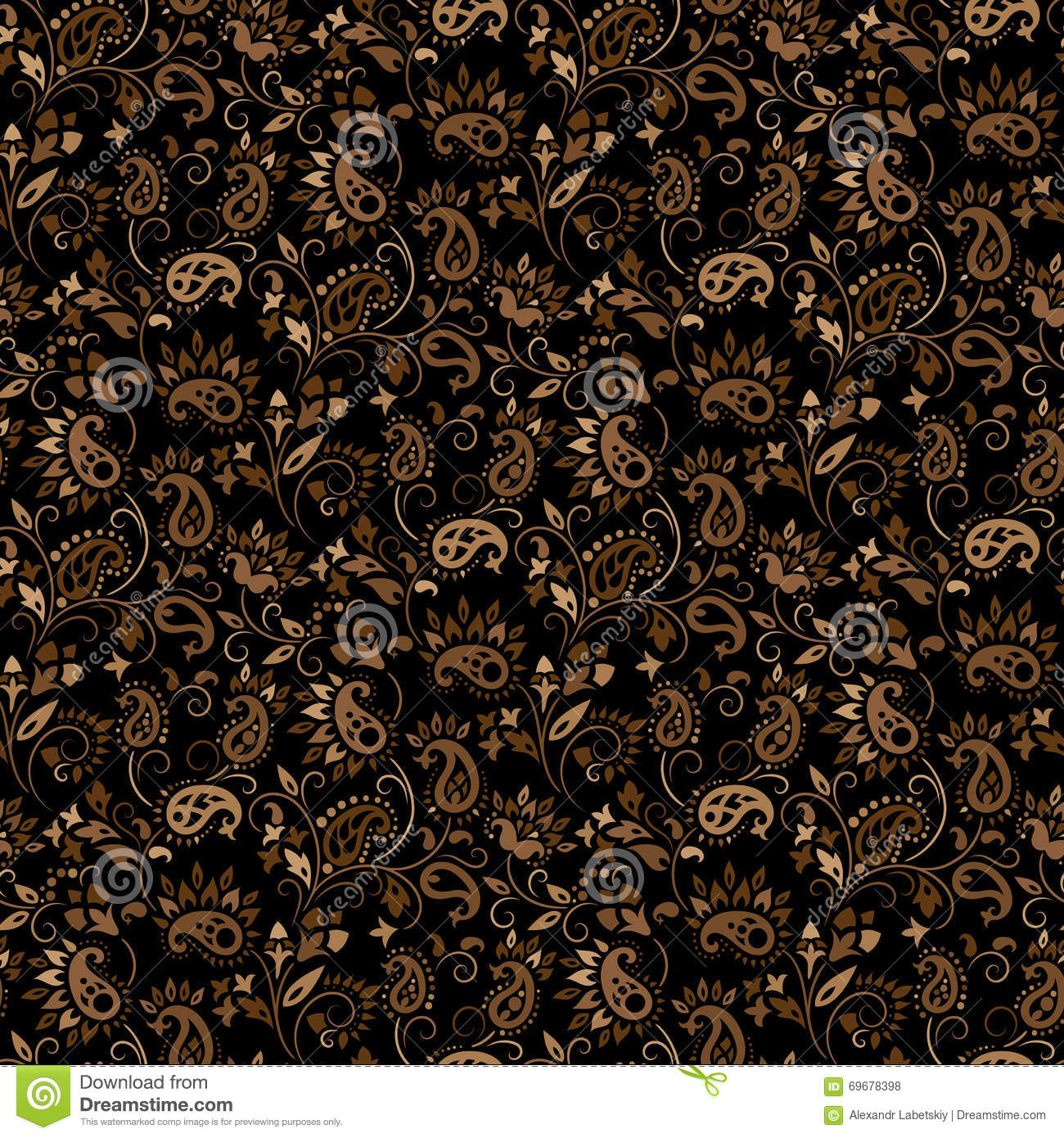 Paisley vector seamless stock vector image of antique for Baroque design elements