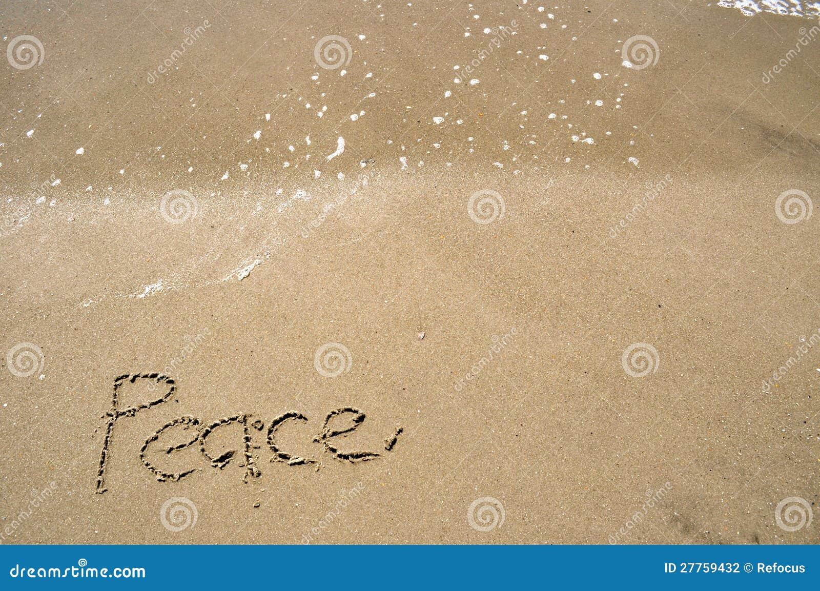 Paix écrite en sable