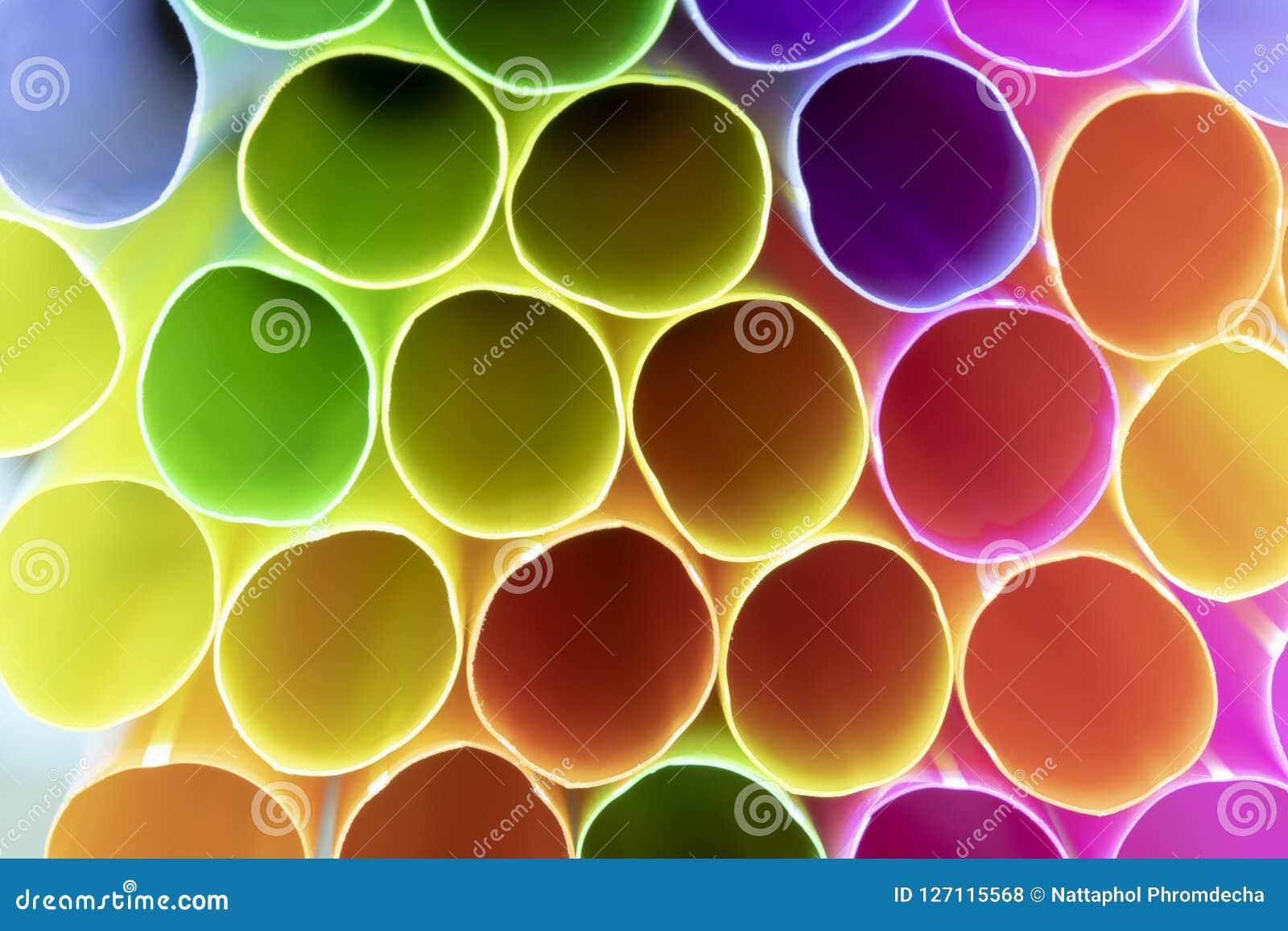 Paja plástica de consumición colorida