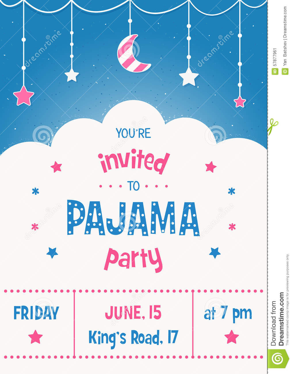 Pajama Party Invitation Card Template With Stars, Moon And Clouds ...