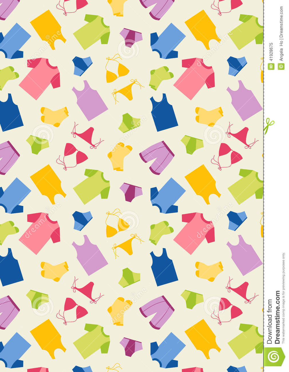 Pajamas With White Background Pattern Stock Vector Image