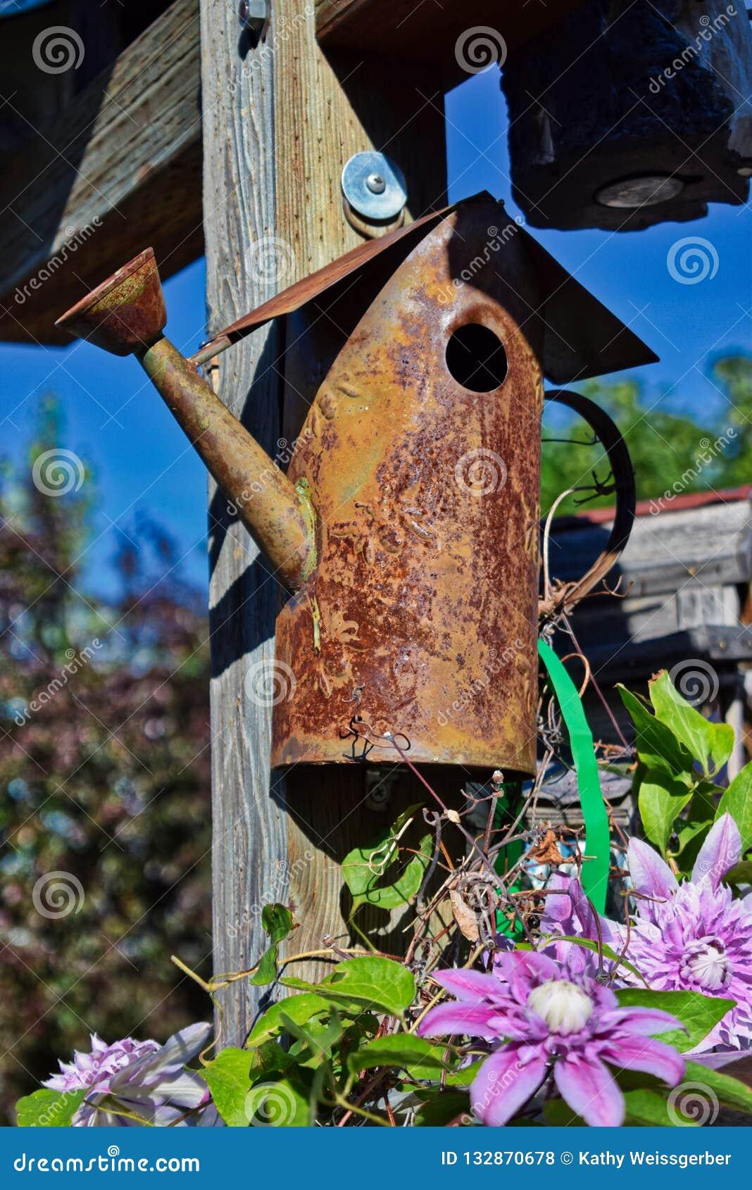 Pajarera oxidada del metal en un poste