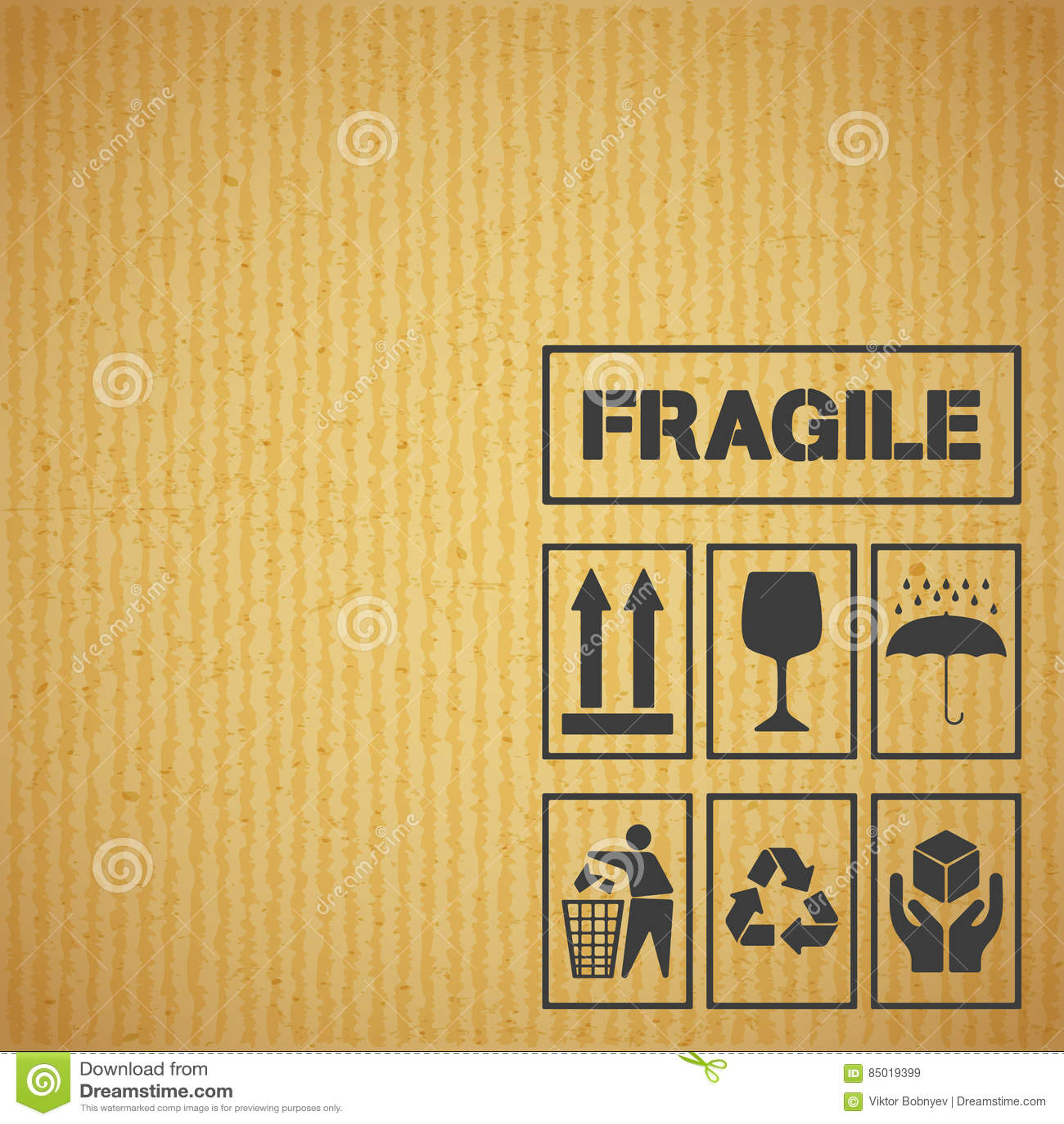Paket Das Aufkleber Auf Pappe Behandelt Vektor Abbildung