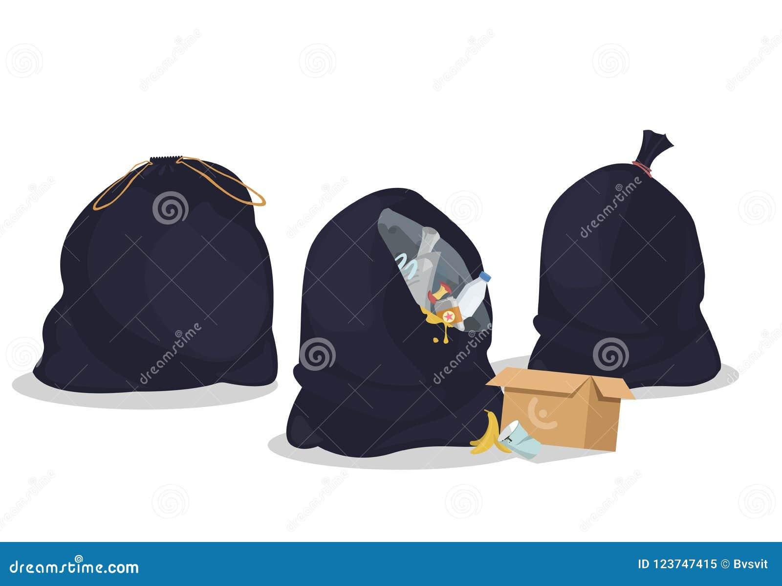 Pakete mit Abfall Offene und geschlossene schwarze Plastiktaschen mit Abfällen Sätze voll Abfall Spezielle Wegwerfbehälter für tr
