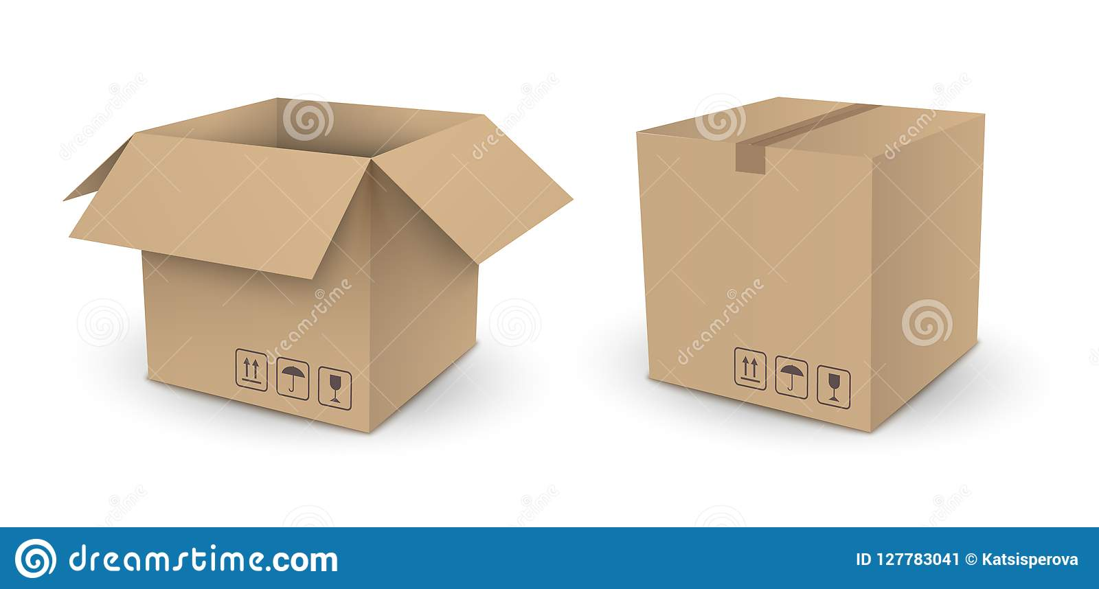 Paketkasten des braunen Würfels des Vektors leerer offen und geschlossenes an lokalisiert