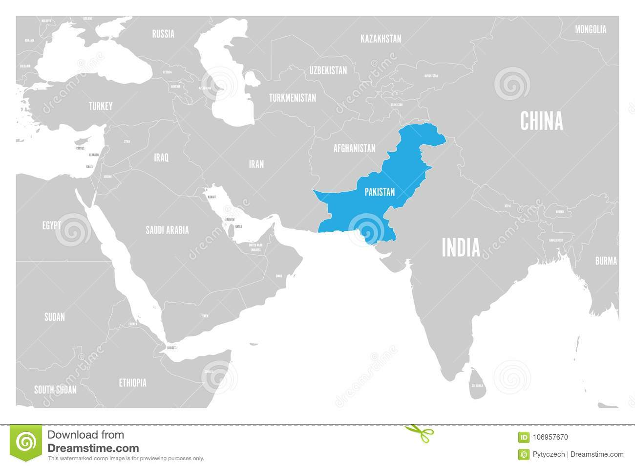 Map Of Asia Karachi.Pakistan Blue Marked In Political Map Of South Asia And Middle East