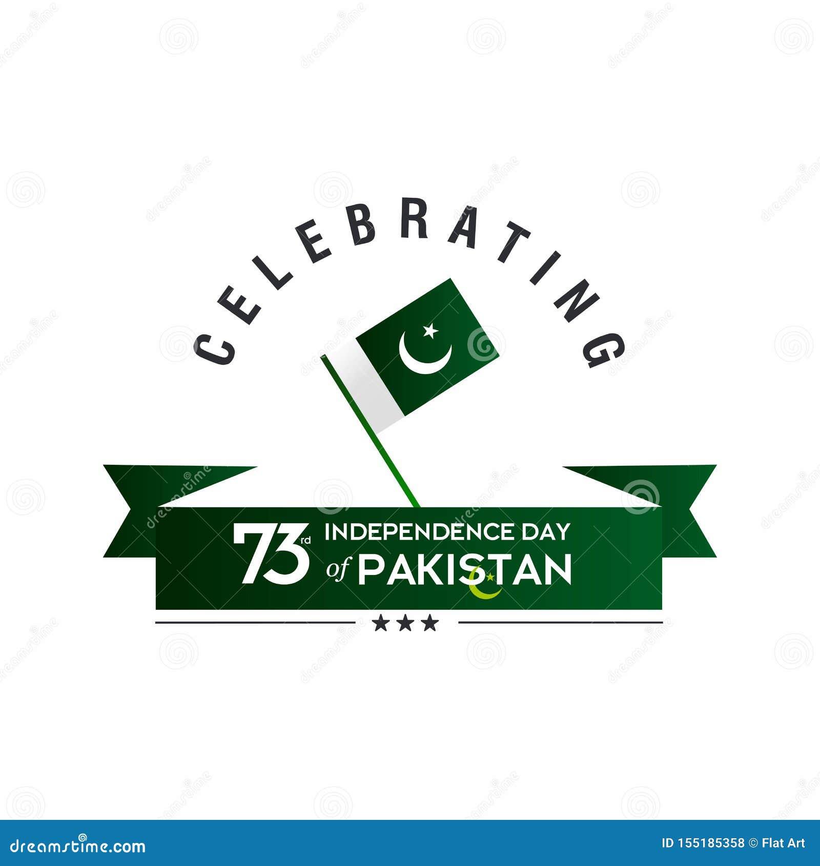 Pakistan dnia niepodległości typografii projekt Kreatywnie typografia 73rd Szczęśliwy dzień niepodległości Pakistan szablonu Wekt
