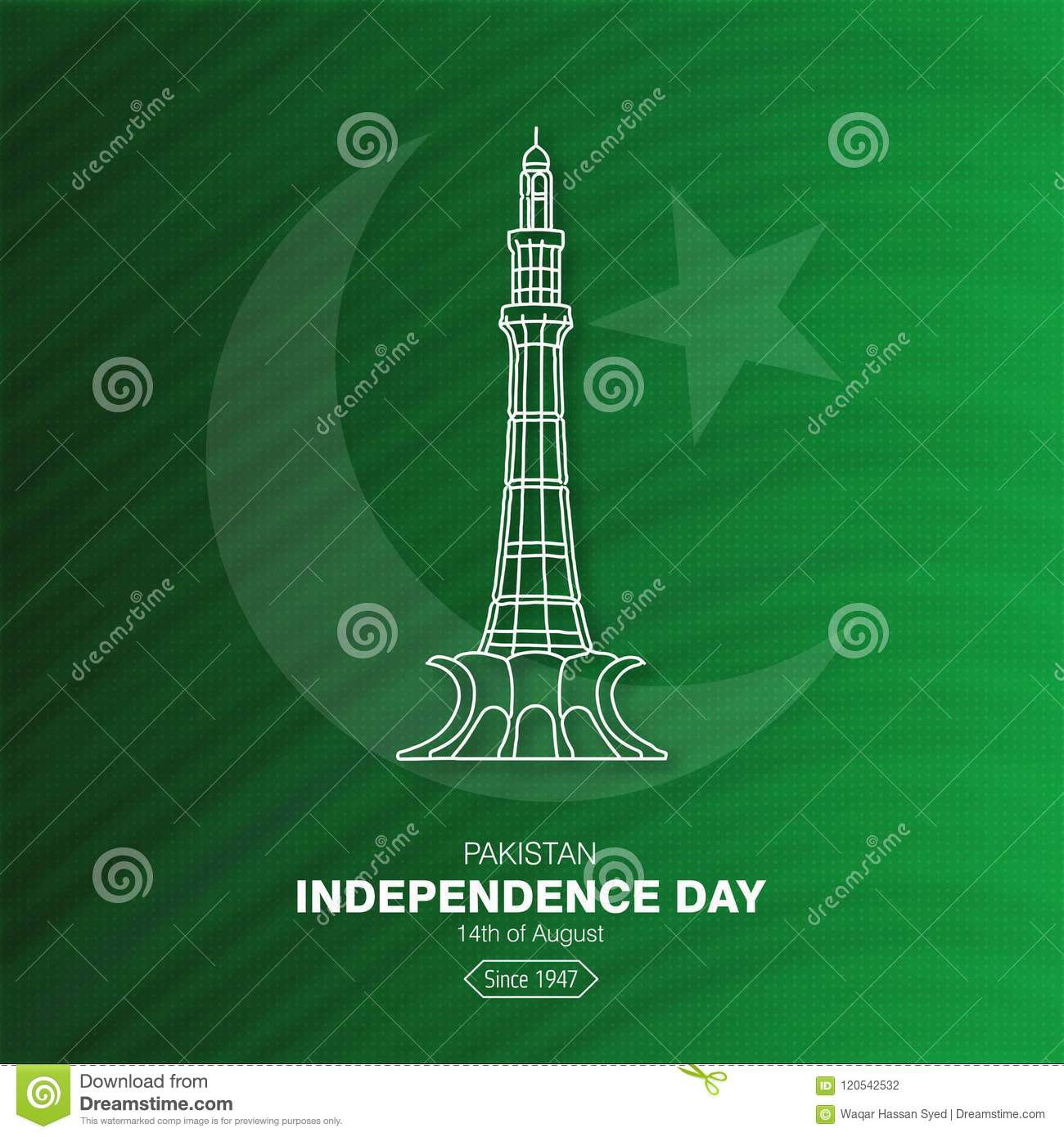 Download Pakistan Happy Independence Day Moon And Star Minar A Pakis Stock