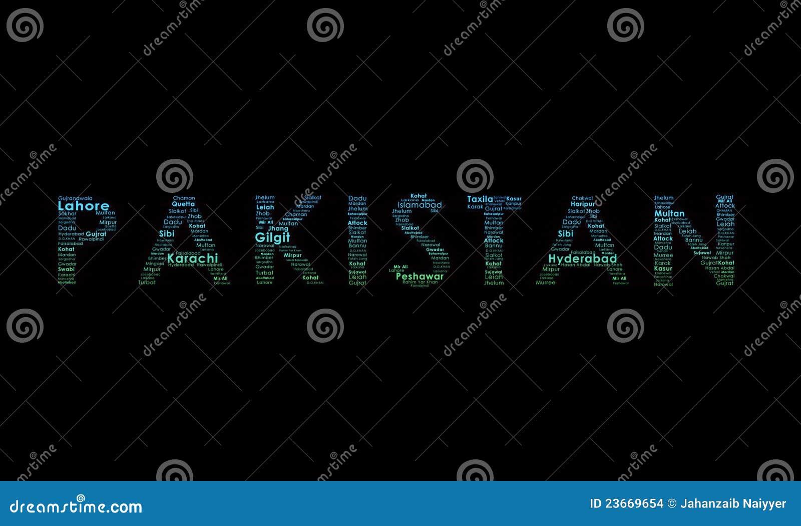 Pakistan ilustracyjna typografia