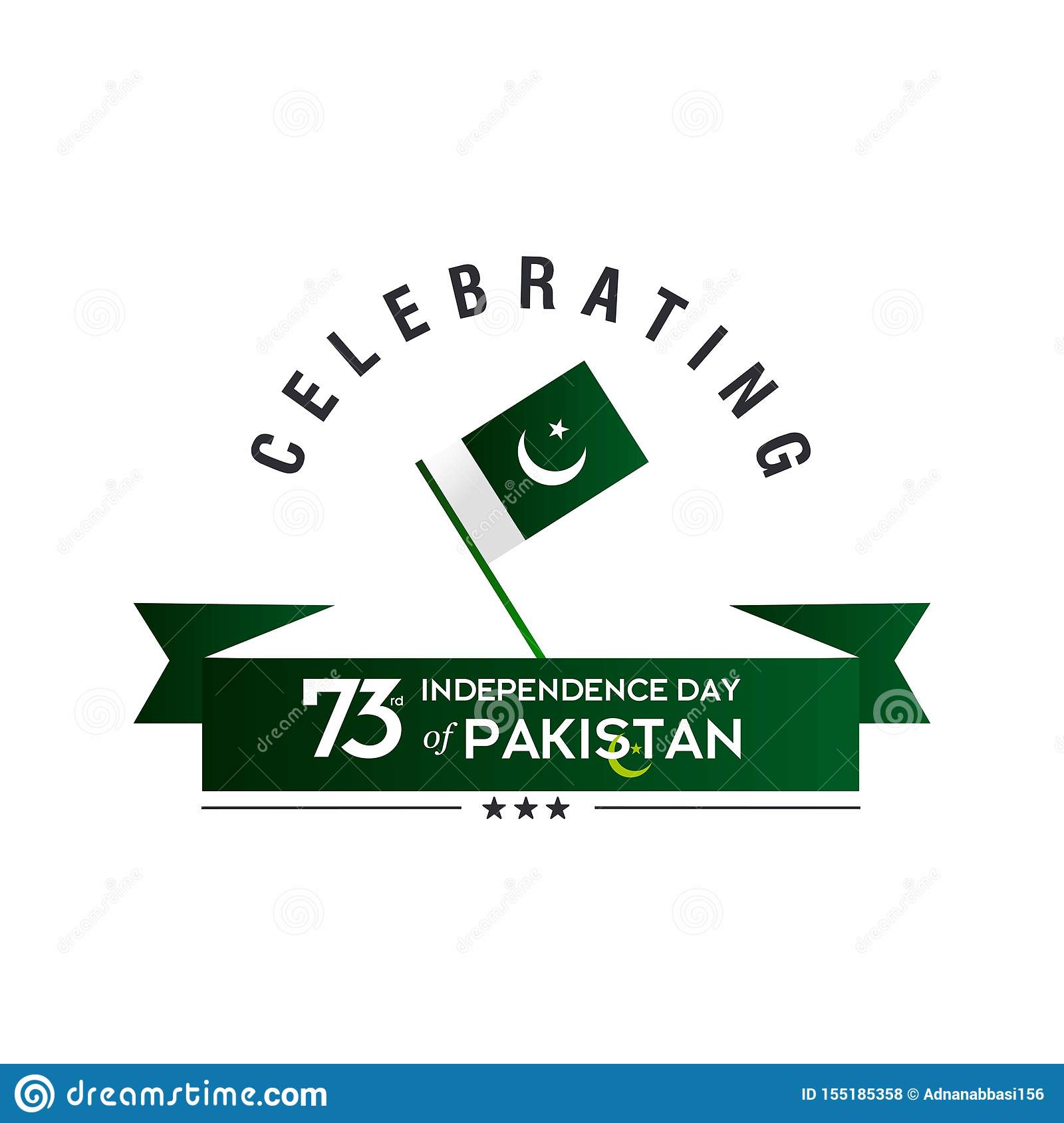 Pakistan Independence Day Typography Design. Creative Typography of 73rd Happy Independence Day of Pakistan Vector Template Design