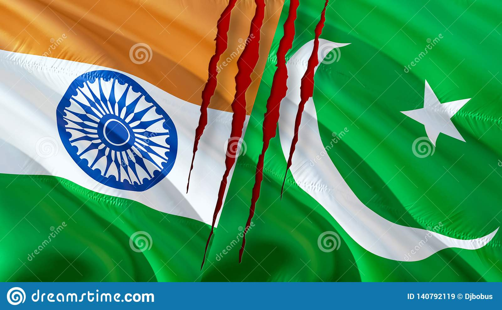 Pakistan and India flags. Waving flag design,3D rendering. Pakistan India flag picture, wallpaper image. Kashmir Indian Indo-
