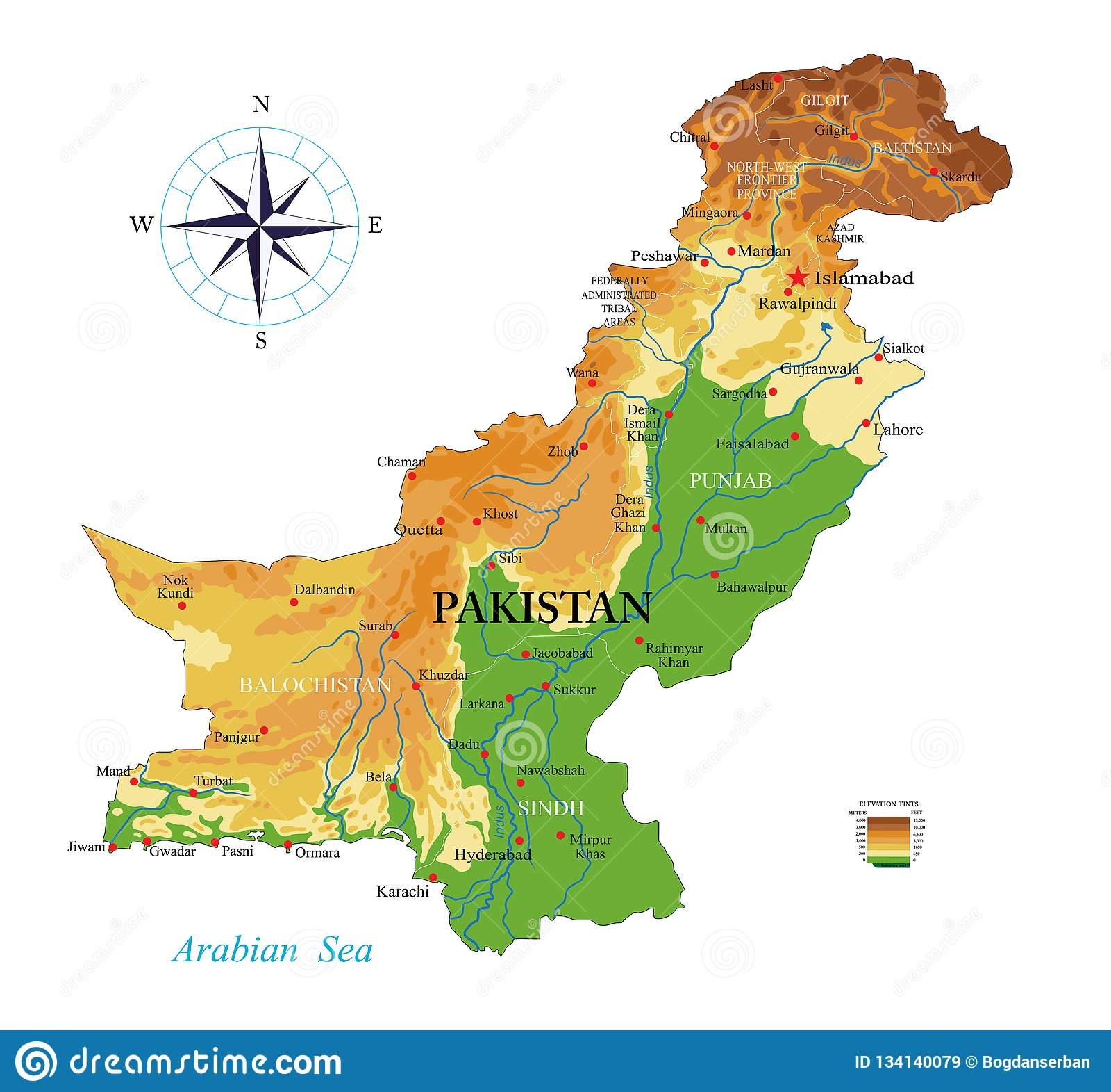 Cartina India Pakistan.Pakistan Physical Map Stock Vector Illustration Of Pakistan 134140079