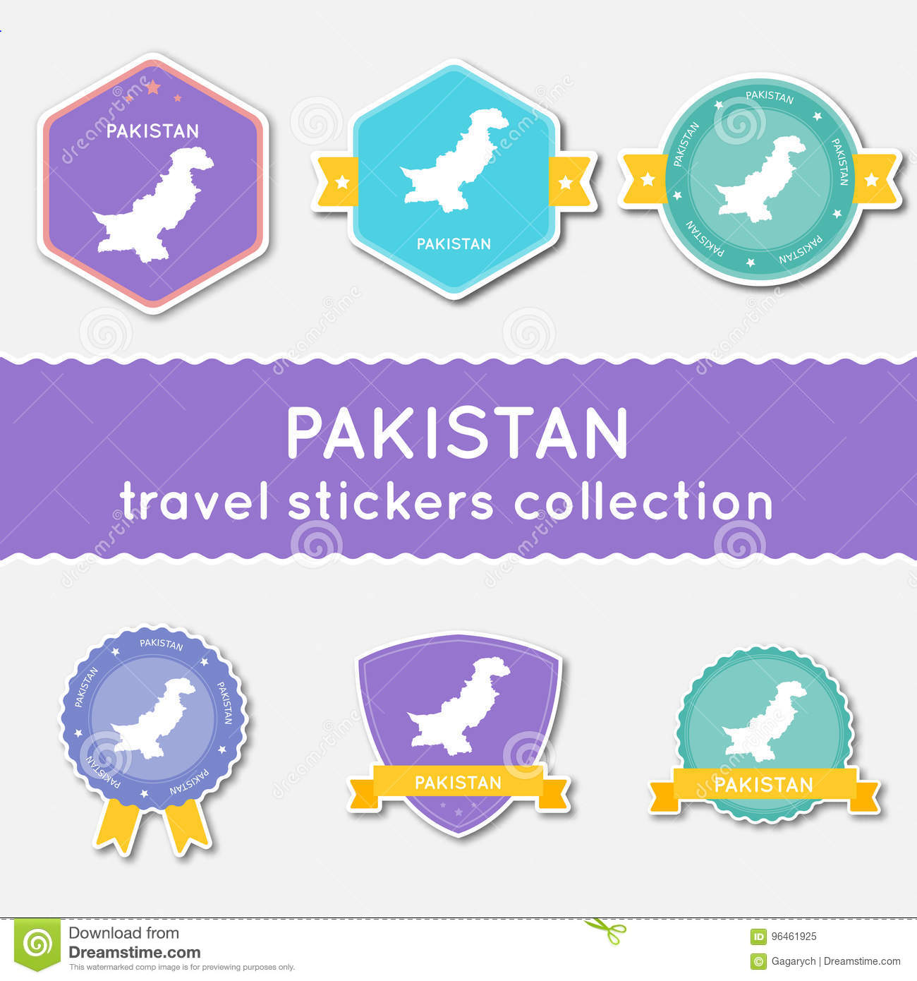 Pakistan travel stickers collection