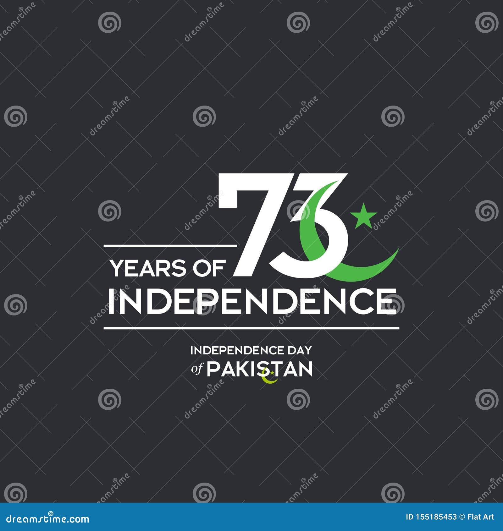 Pakistan-Unabhängigkeitstag-Typografie-Entwurf Kreative Typografie des 73. glücklichen Unabhängigkeitstags des Pakistan-Vektor-Sc