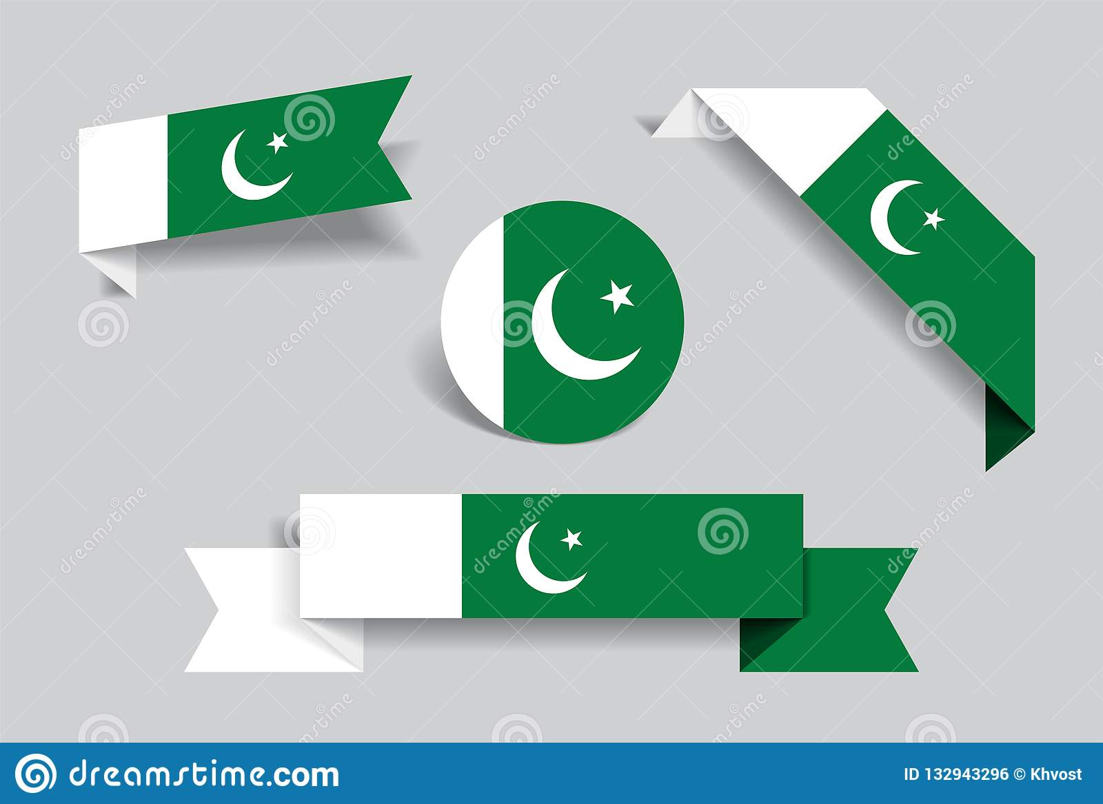 Pakistani flag stickers and labels vector illustration