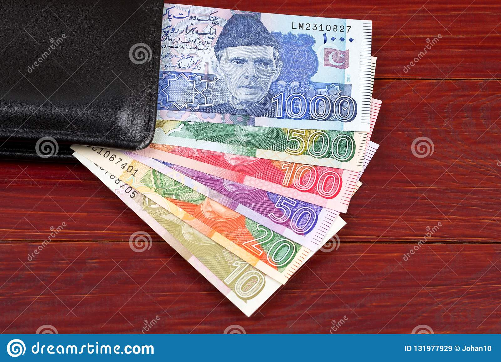 Pakistanska pengar i den svarta plånboken