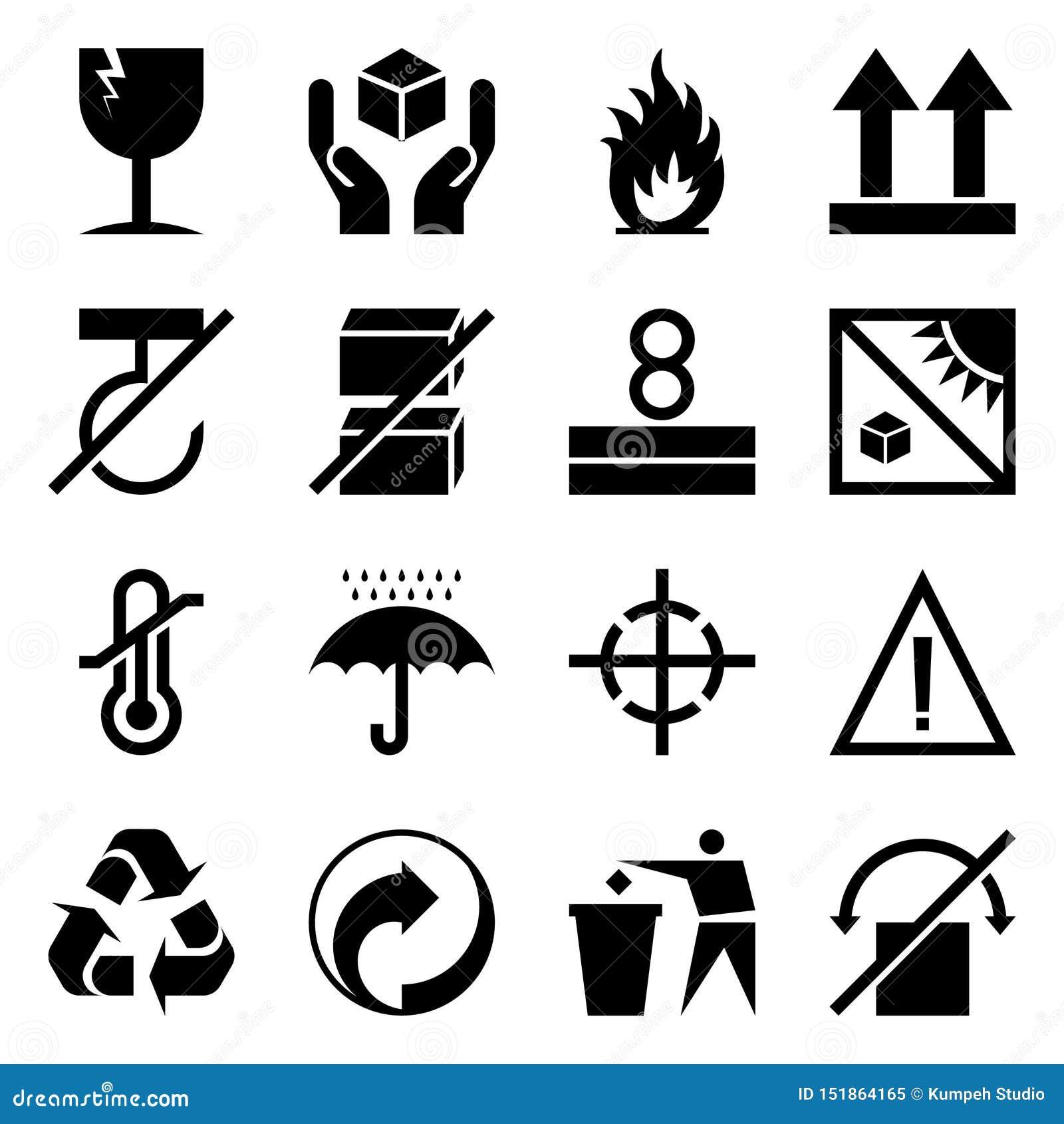 Pakowa? symbole Logistyki ikony setu pudełko odizolowywający na białym tle