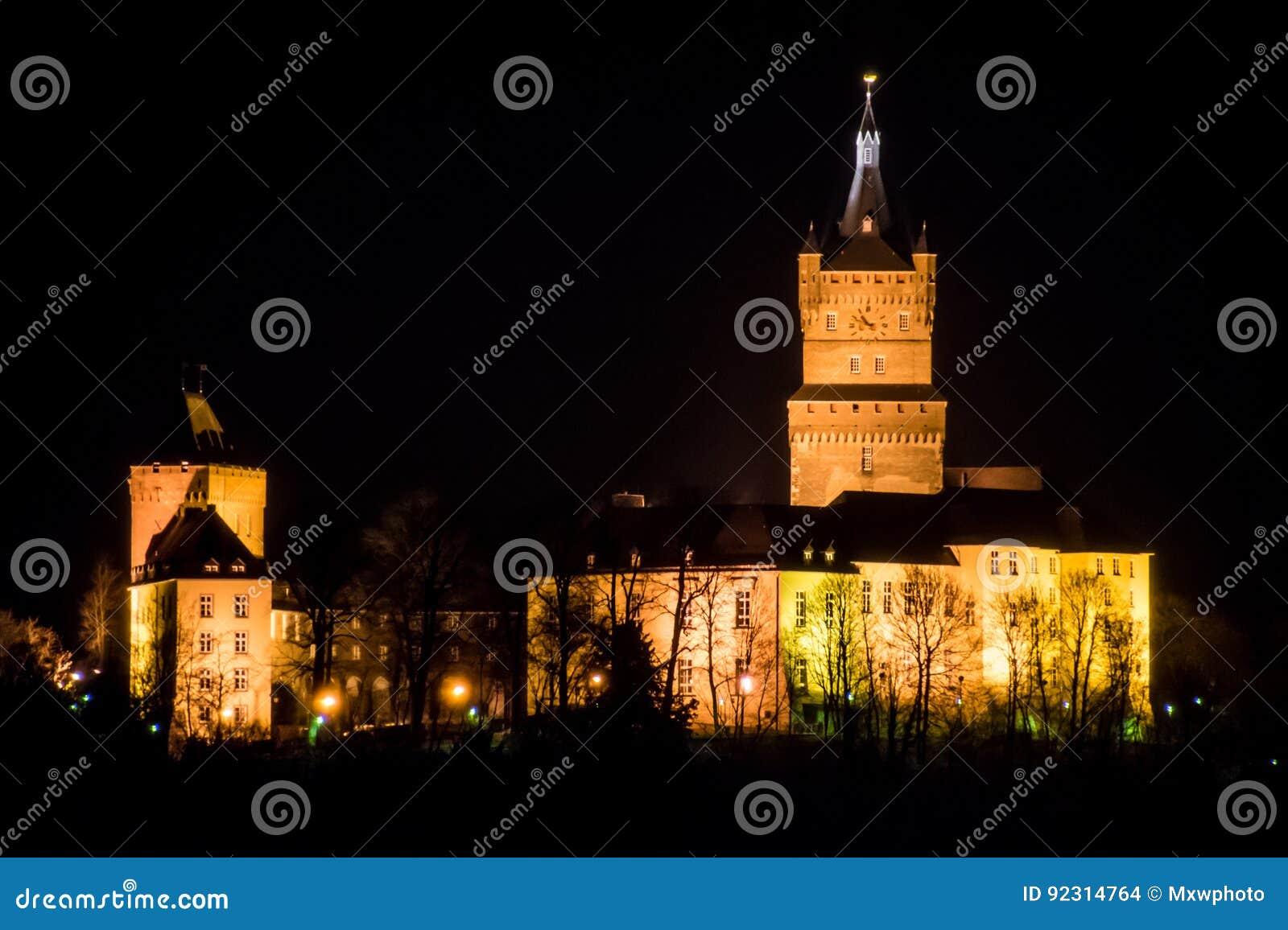 Palácio alemão velho do pulso de disparo da torre do castelo na noite