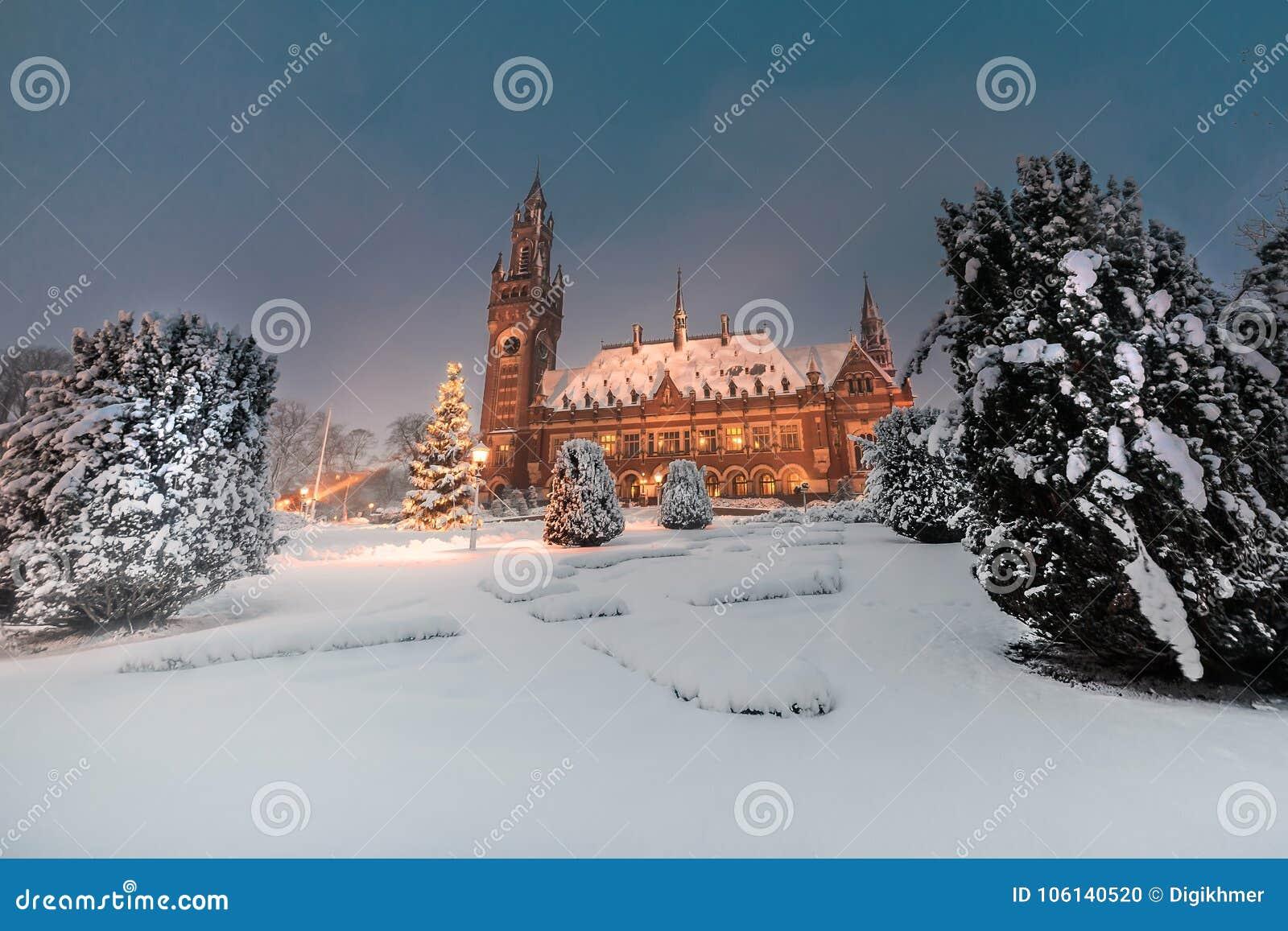 Palácio da paz, Vredespaleis, sob a noite do quarto da neve