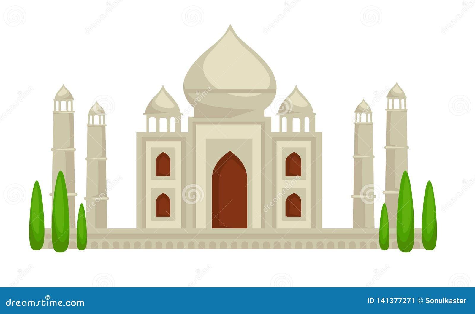 Palácio de Taj Mahal que constrói a arquitetura indiana do símbolo