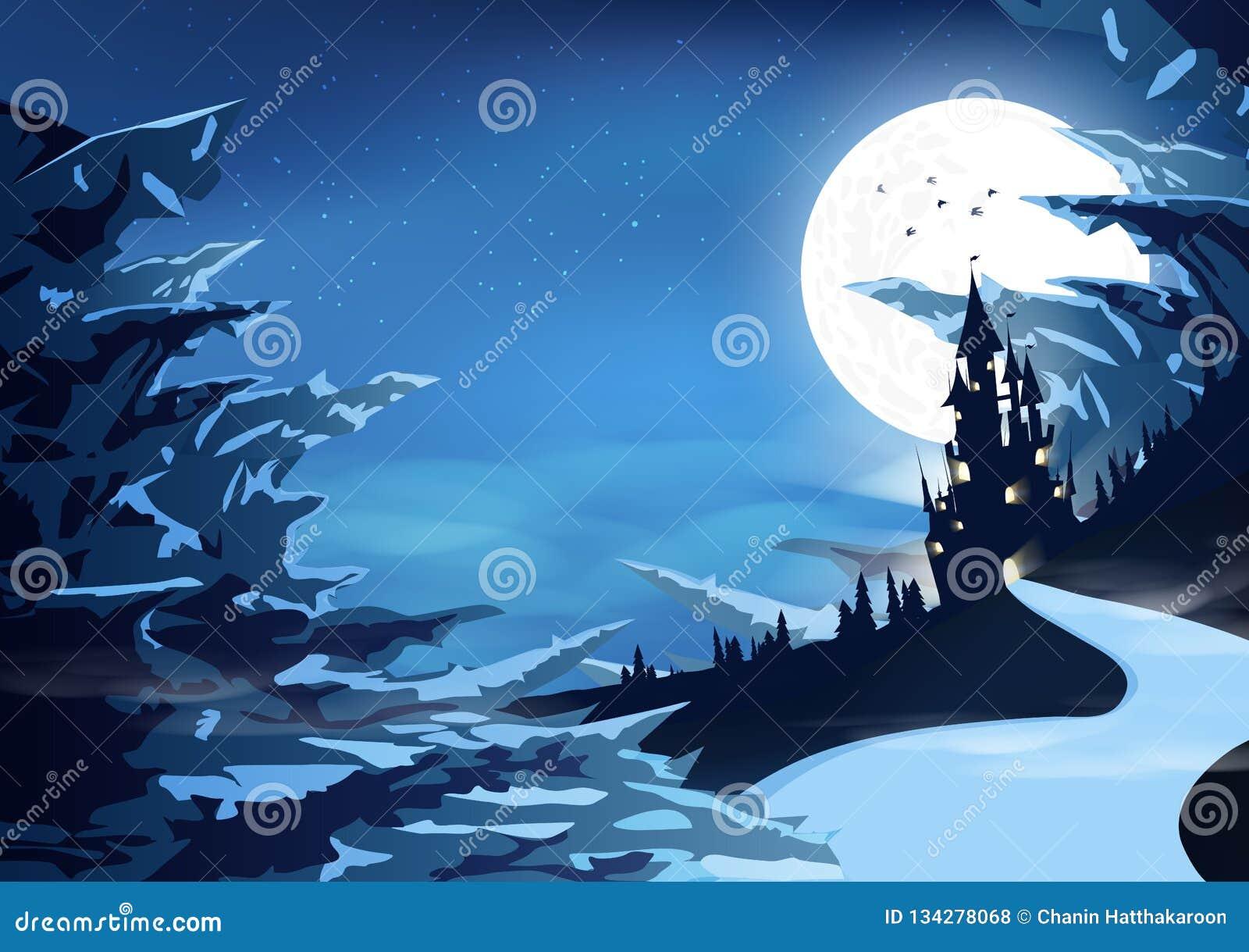 Palácio do castelo em místico da ilustração ártica do vetor do fundo do sumário da fantasia da silhueta da paisagem das montanhas