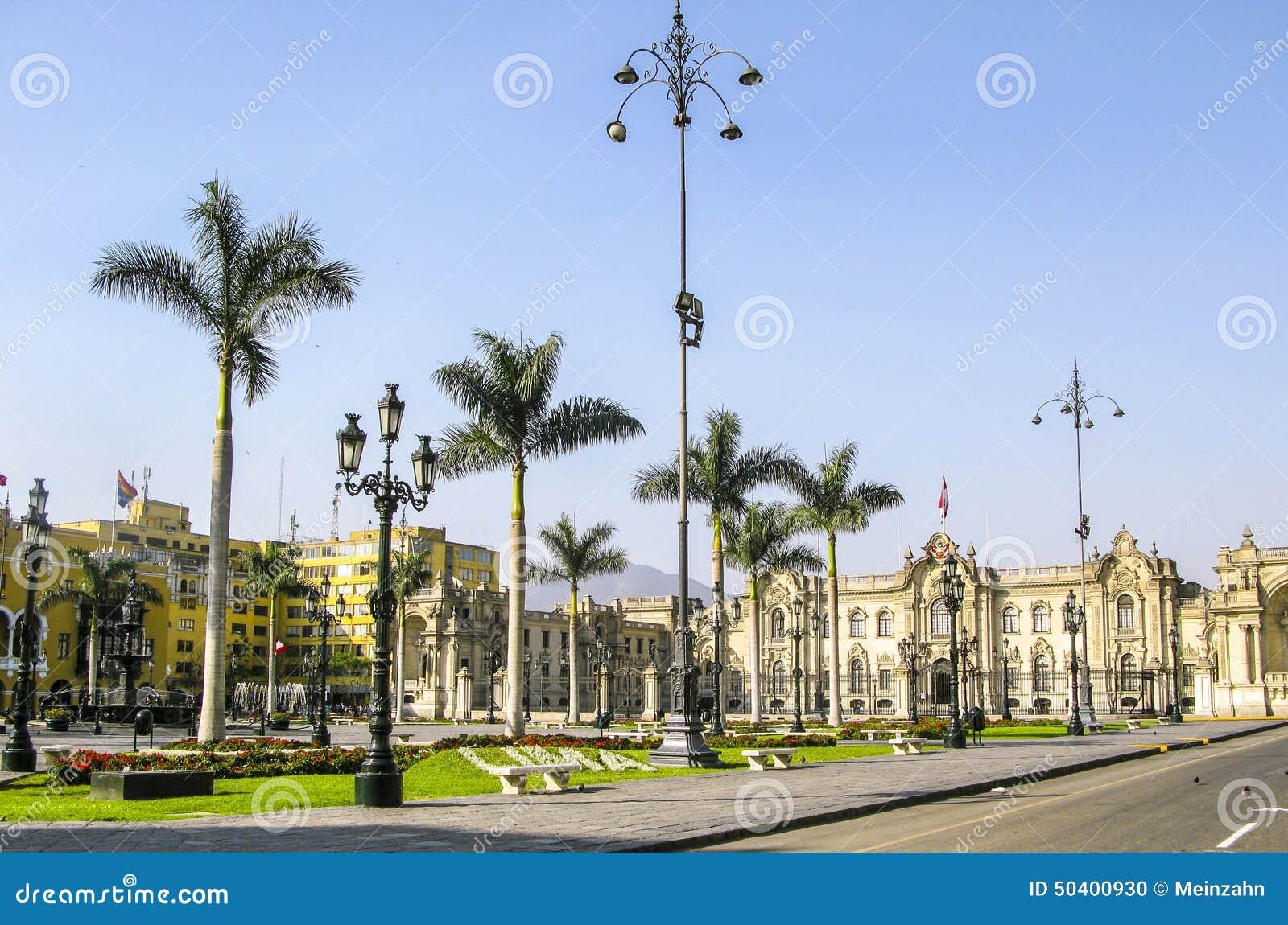 Palácio do governo em Plaza de Armas em Lima, Peru