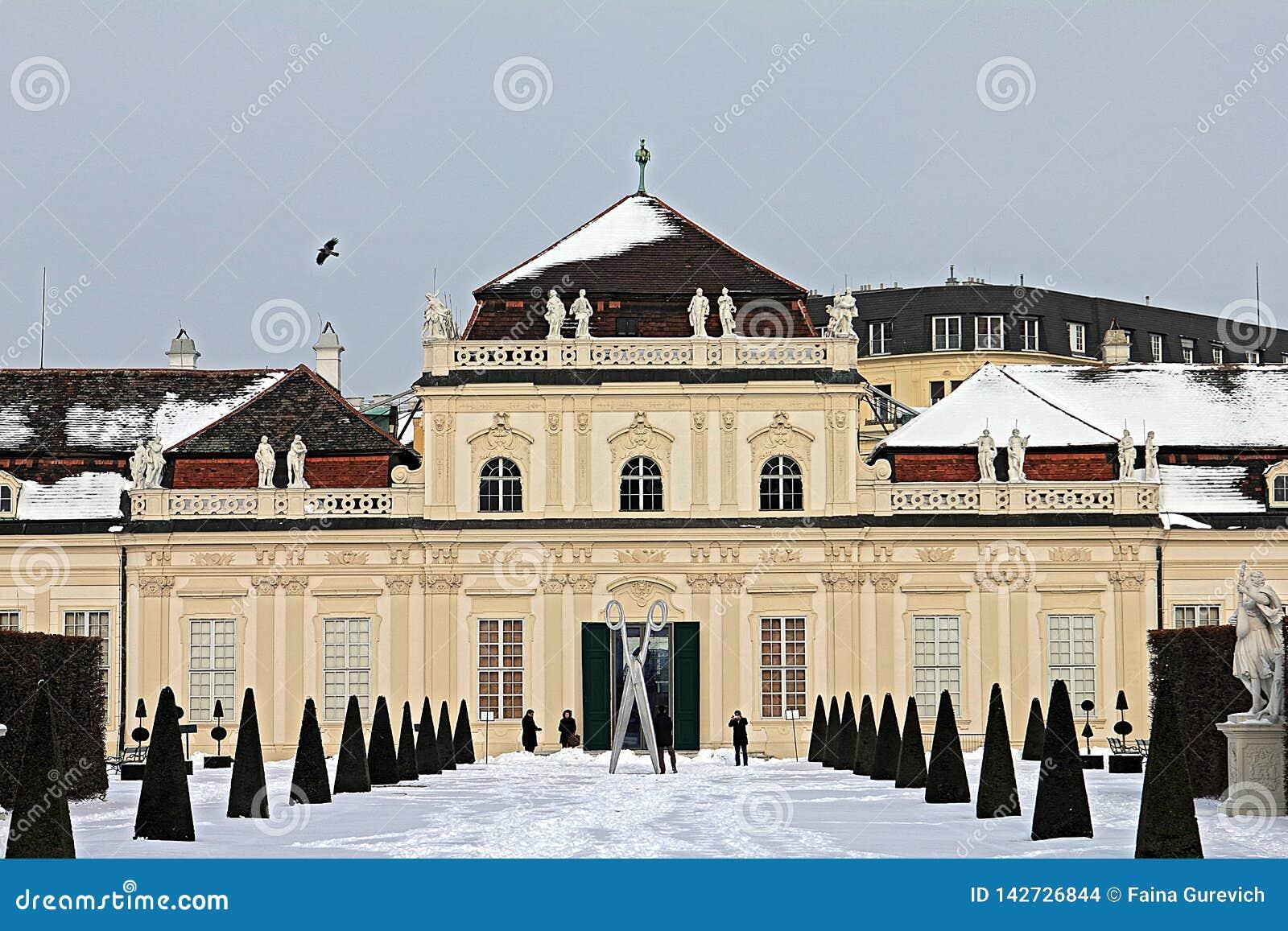 Palácio e jardim do Belvedere em Viena Abaixe o Belvedere