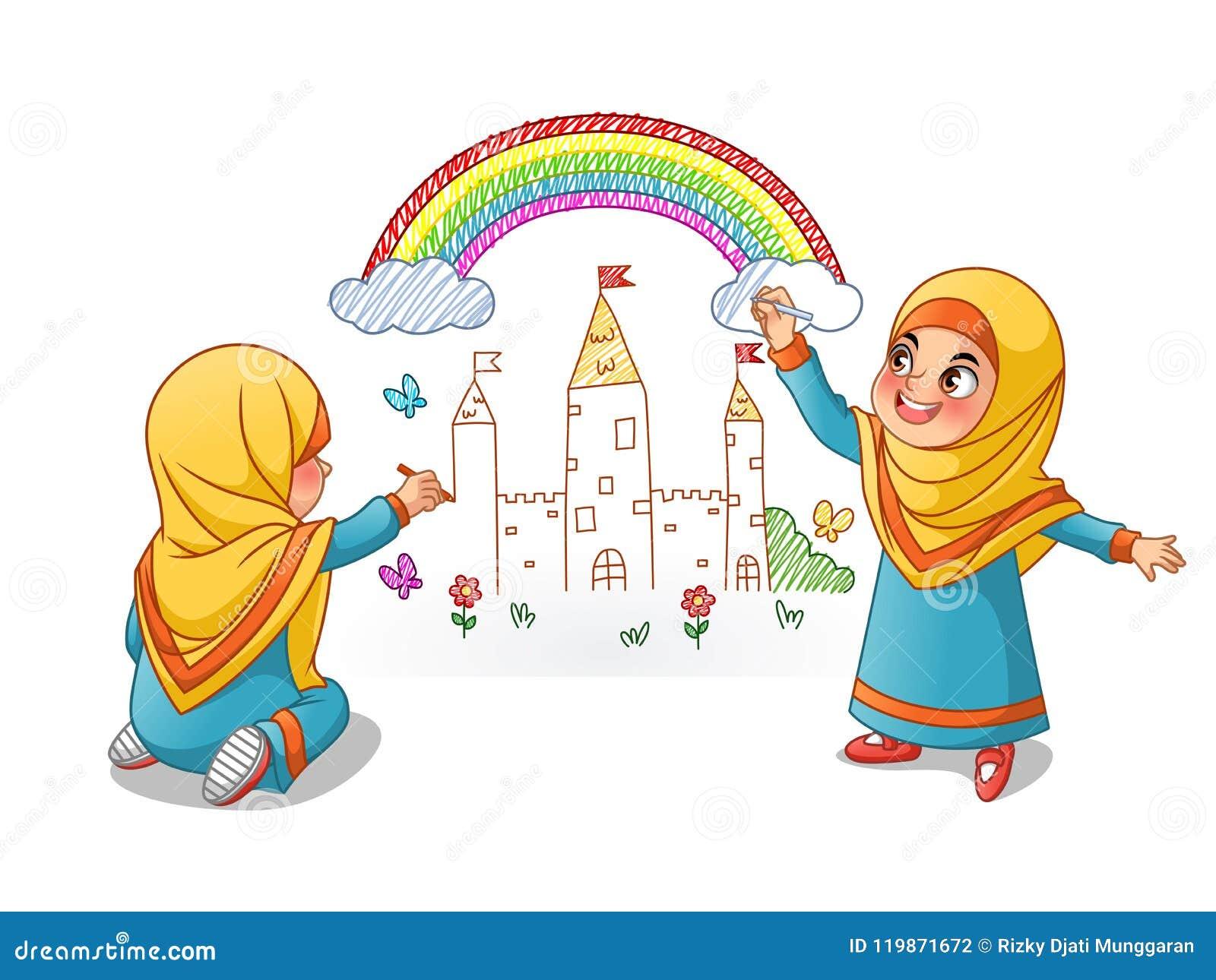 Palácio muçulmano da tração das meninas com o arco-íris na parede