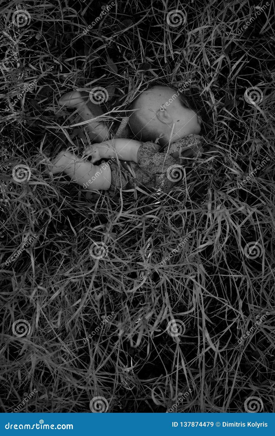 Paląca plastikowa lala w drewnach