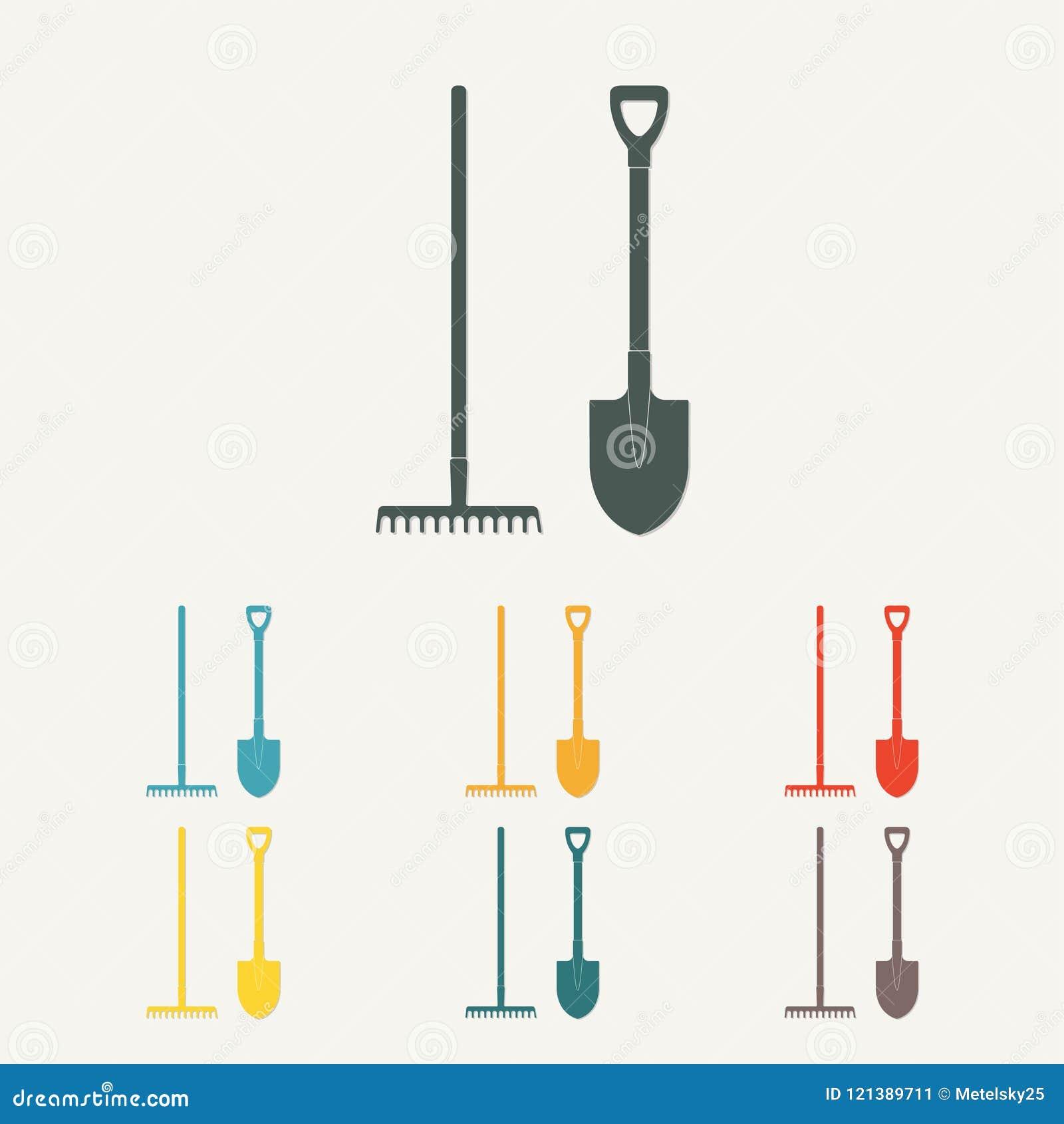 Pala y rastrillo Herramientas que cultivan un huerto coloridas Diseño plano Ilustración del vector
