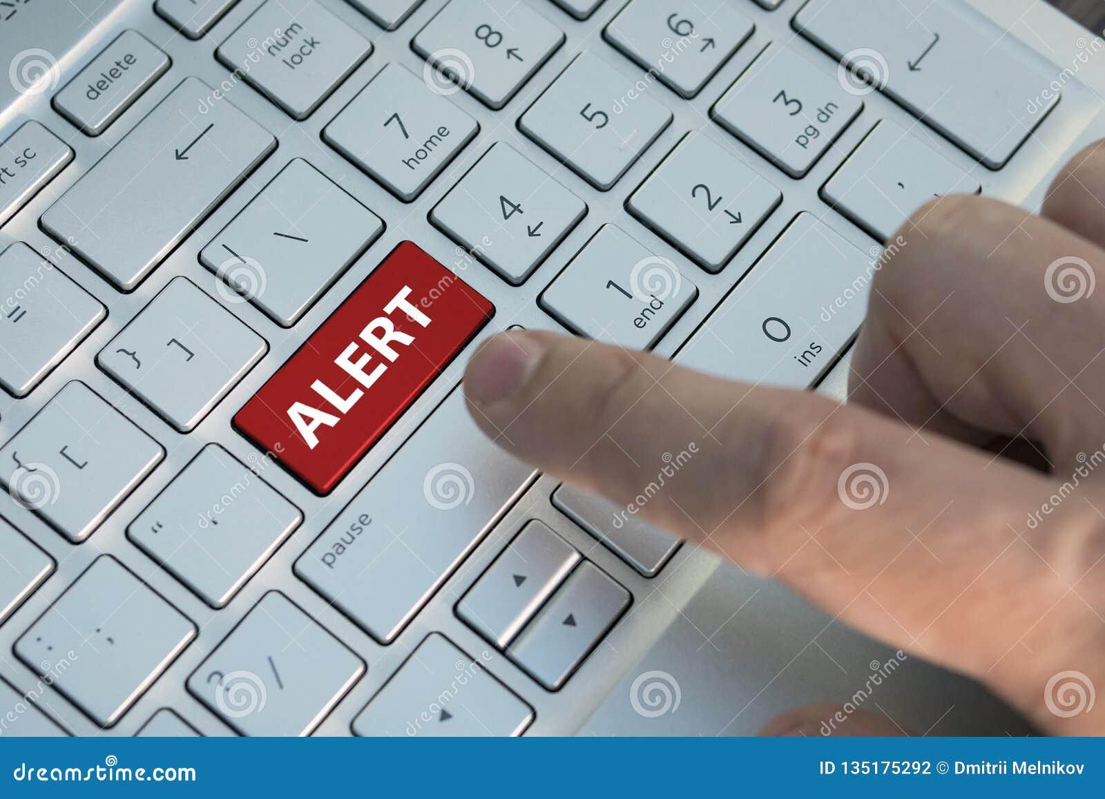 Palabra alerta en el botón rojo del teclado, ansiedad, preocupación, intranquilidad, inquietud, inquietud, disquietude