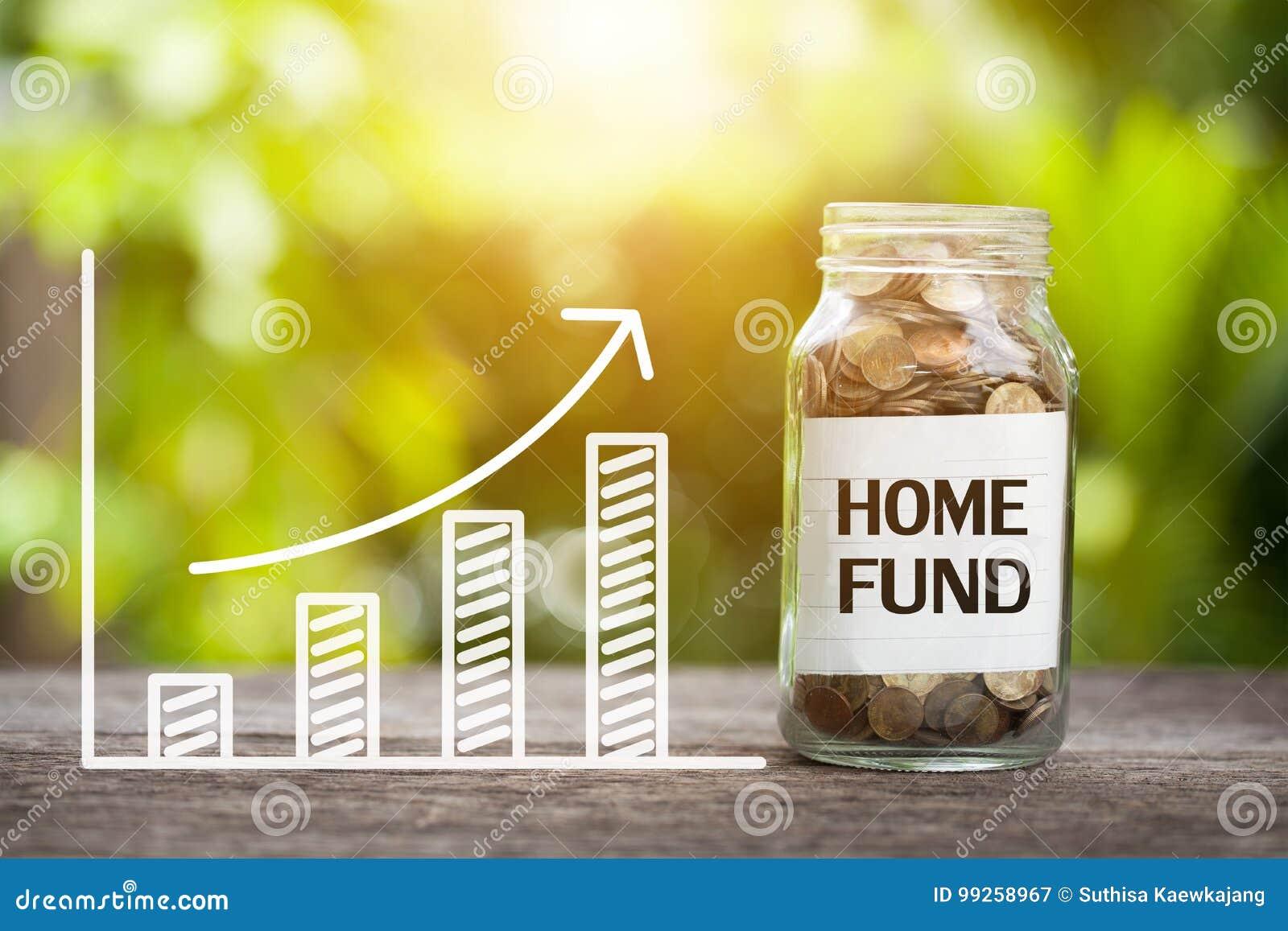 Palabra casera del fondo con la moneda en el tarro y el gráfico de cristal para arriba Co financiero
