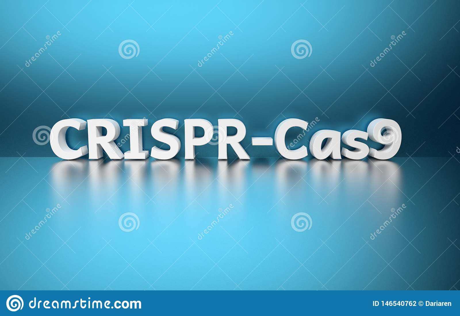 Palabra CRISPR-Cas9 en fondo azul