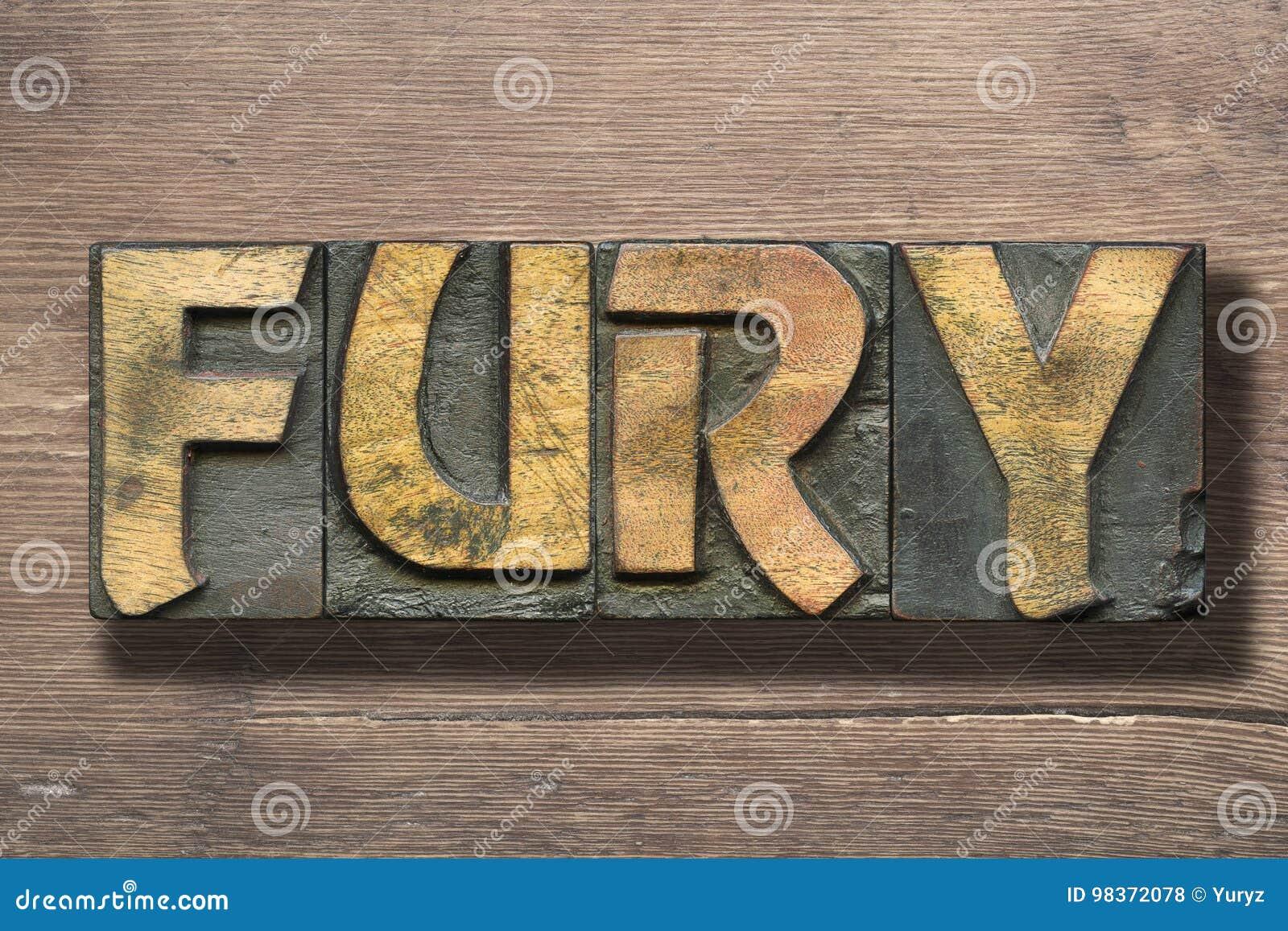 Palabra de la furia en la madera