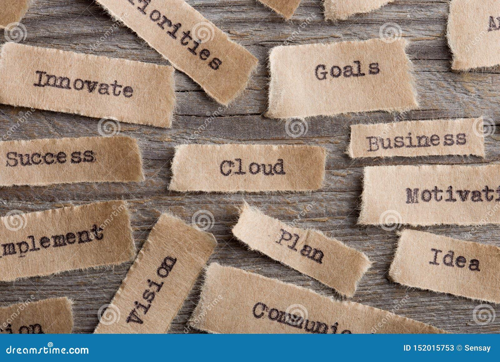 Palabra de la nube en un cierre del trozo de papel para arriba, concepto moderno de la tecnología del negocio