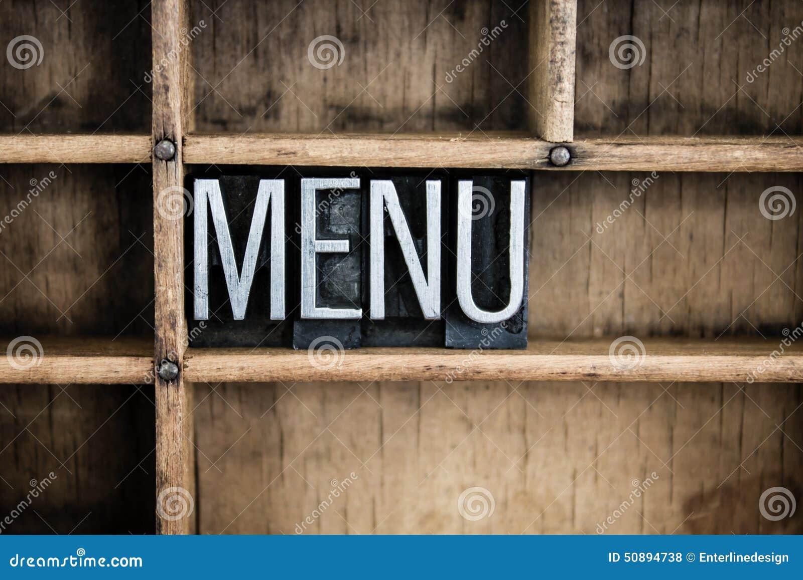 Palabra de la prensa de copiar del metal del concepto del menú en cajón