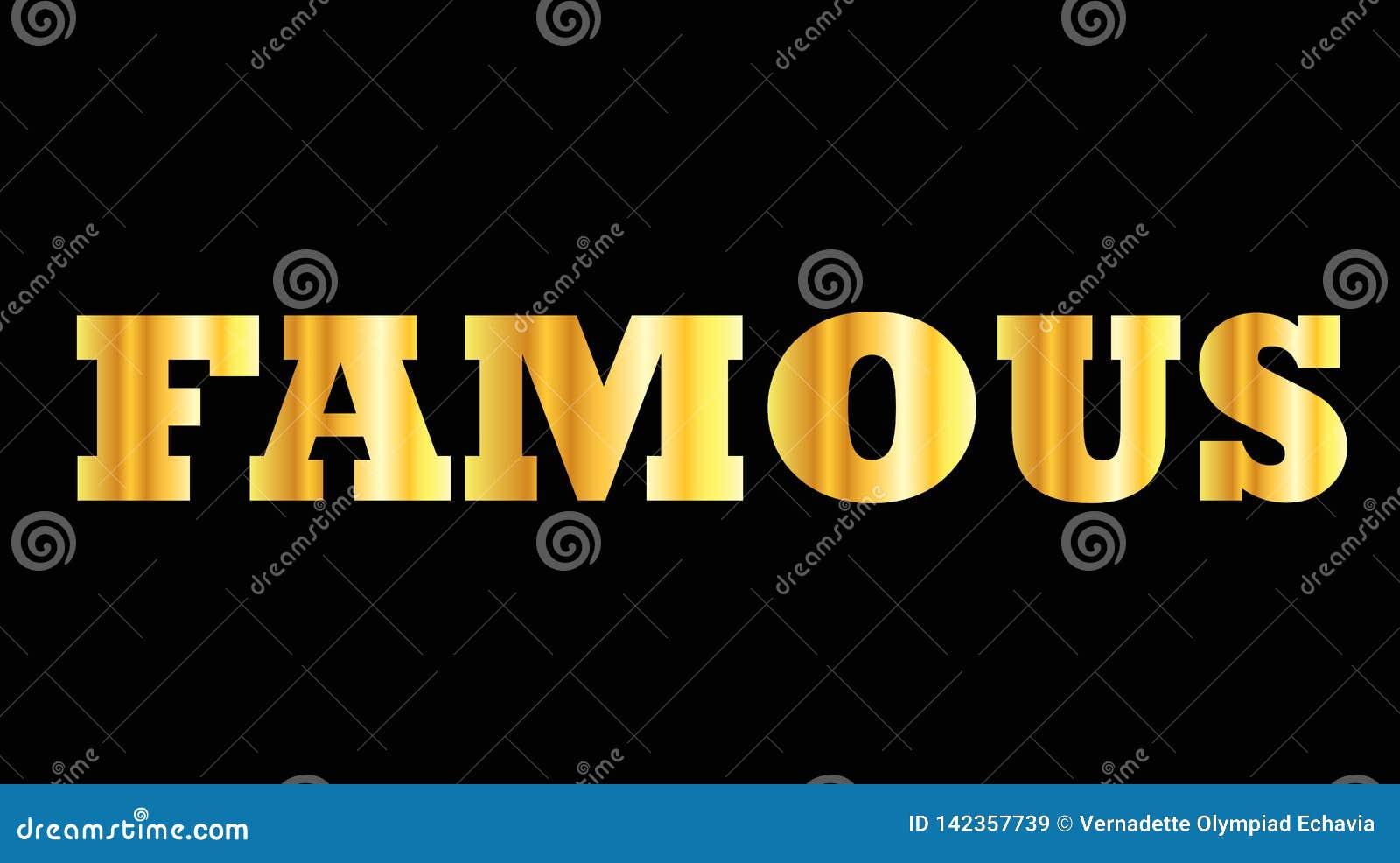 Palabra de oro brillante de la mayúscula famosa