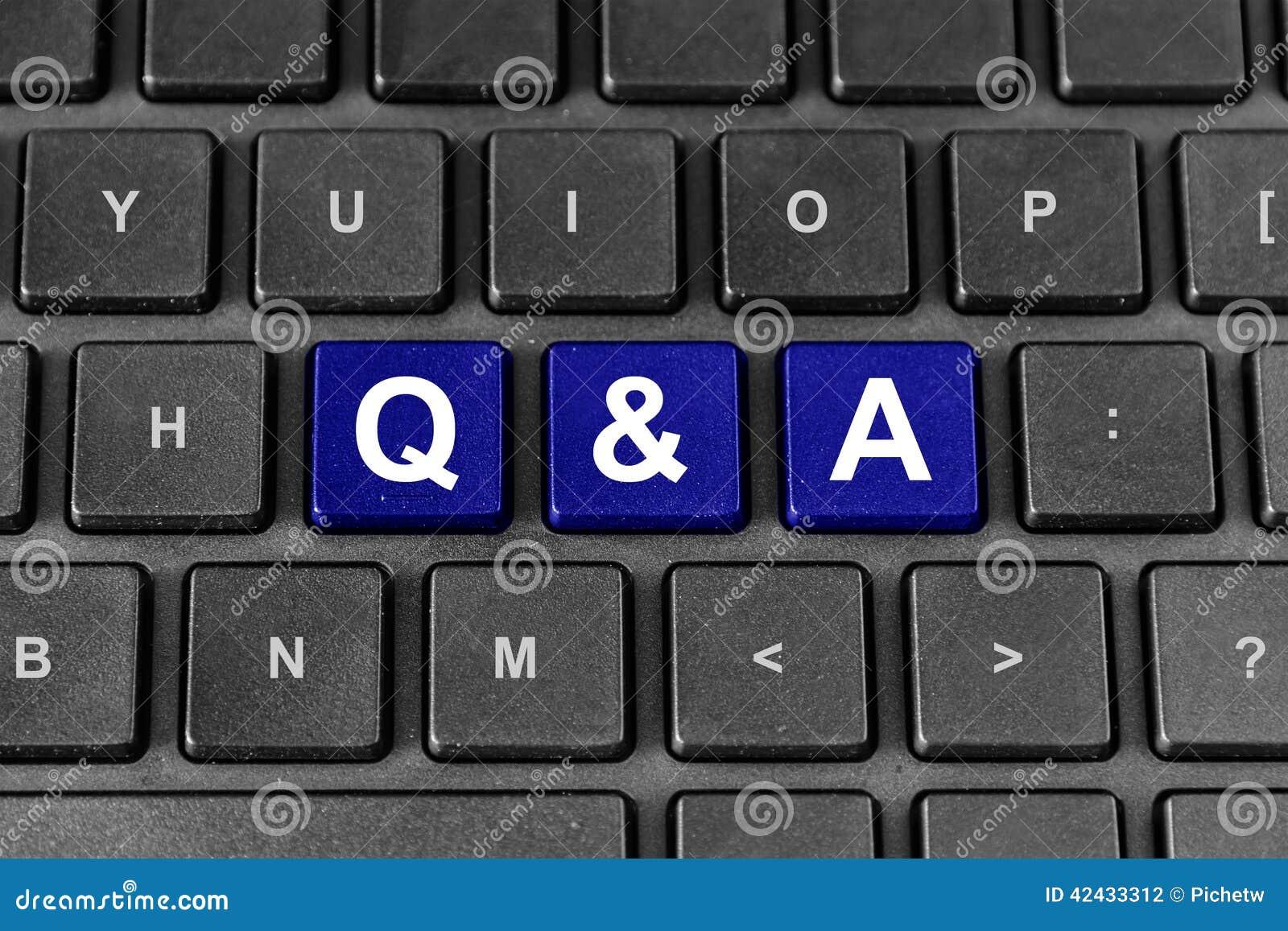 Palabra del Q&A o de las preguntas y de las respuestas en el teclado