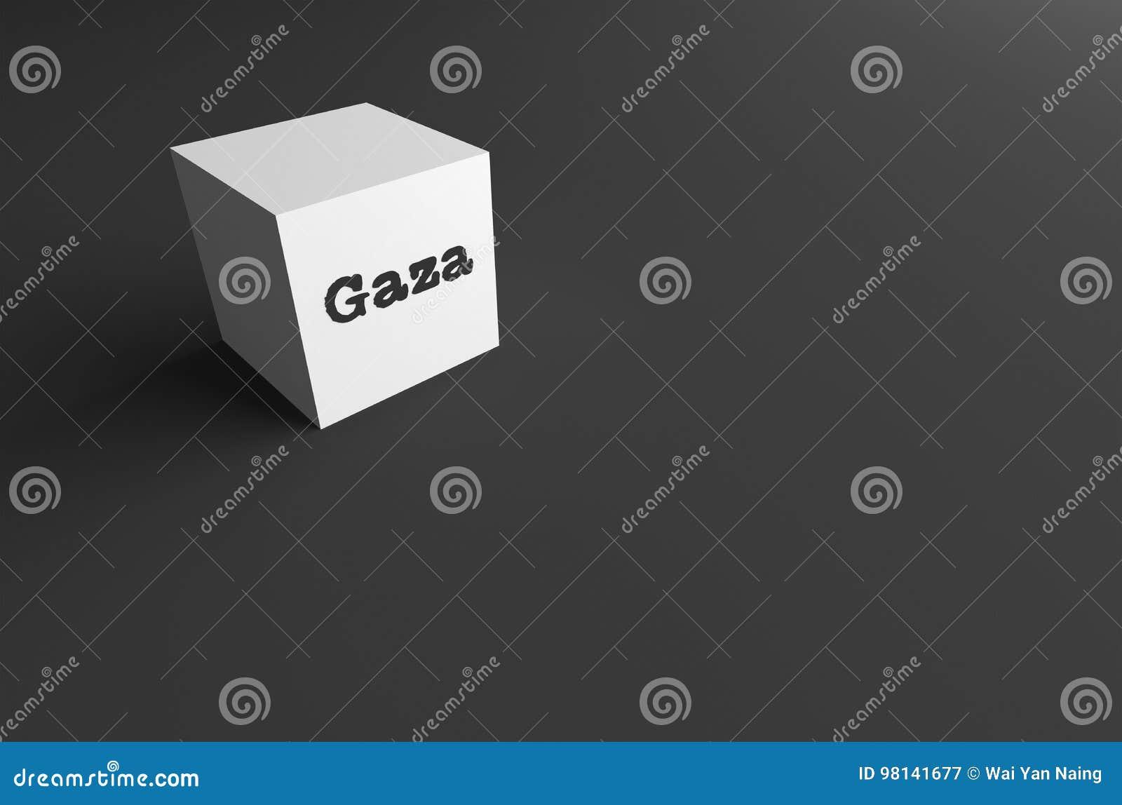 PALABRA Gaza de la REPRESENTACIÓN 3D ESCRITO EN EL CUBO BLANCO