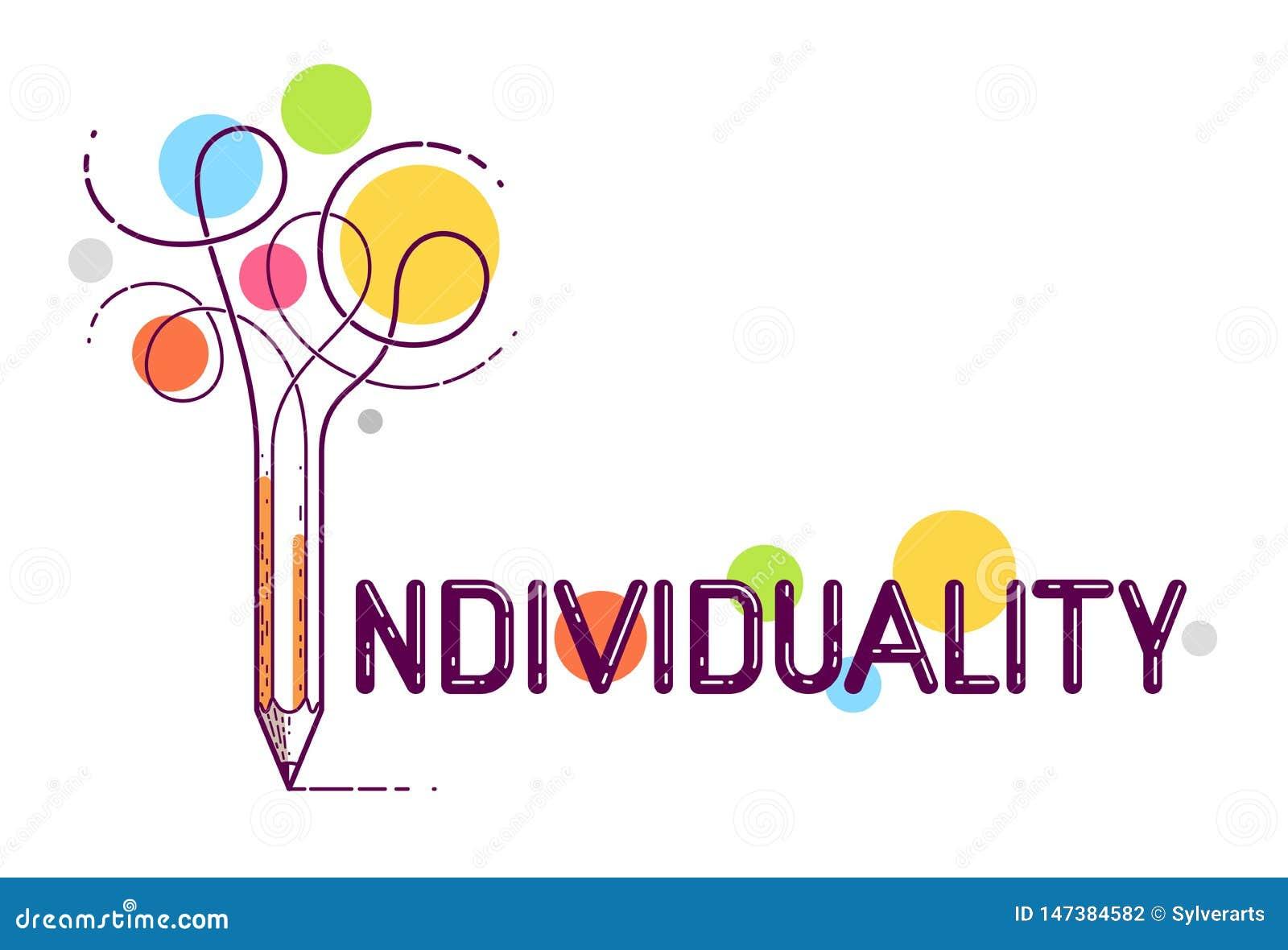 Palabra individual con el lápiz en vez de la letra yo, individualidad y concepto de la personalidad, logotipo del vector o cartel
